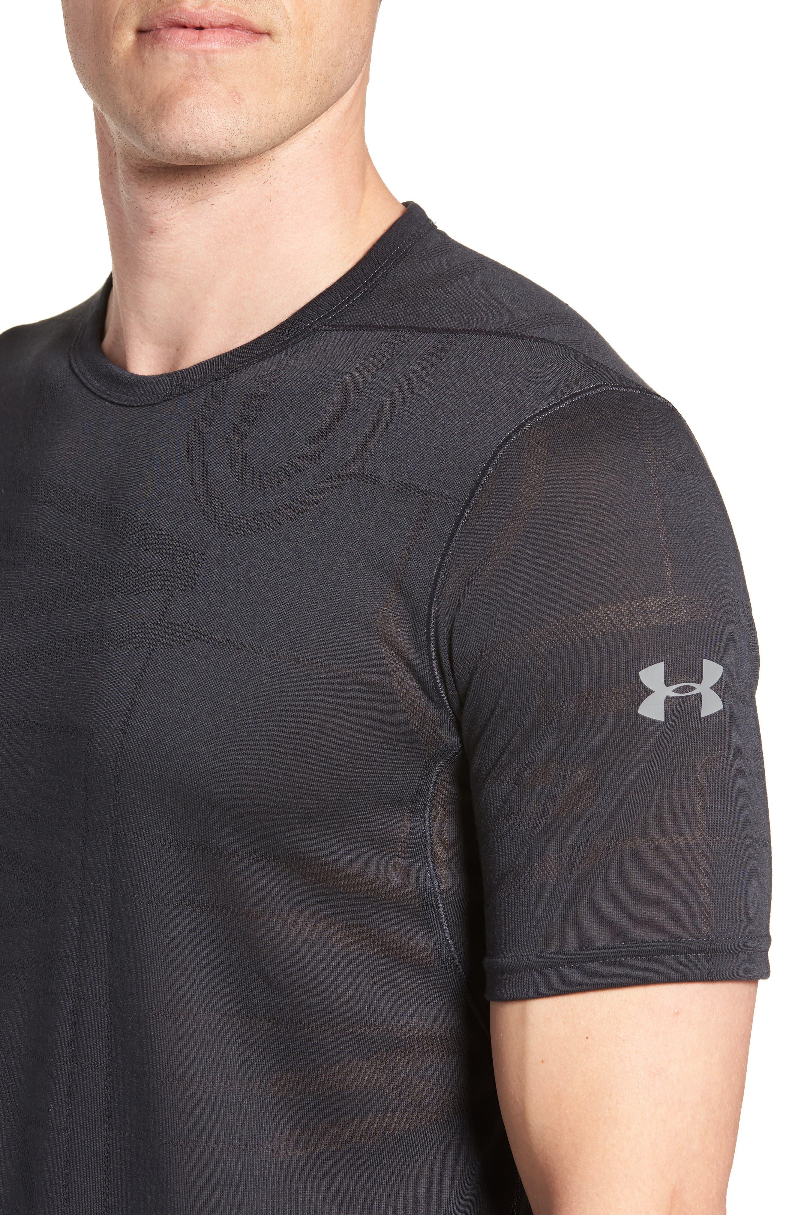 Threadborne Elite Crewneck T-Shirt,                             Alternate thumbnail 4, color,                             BLACK/ GRAPHITE