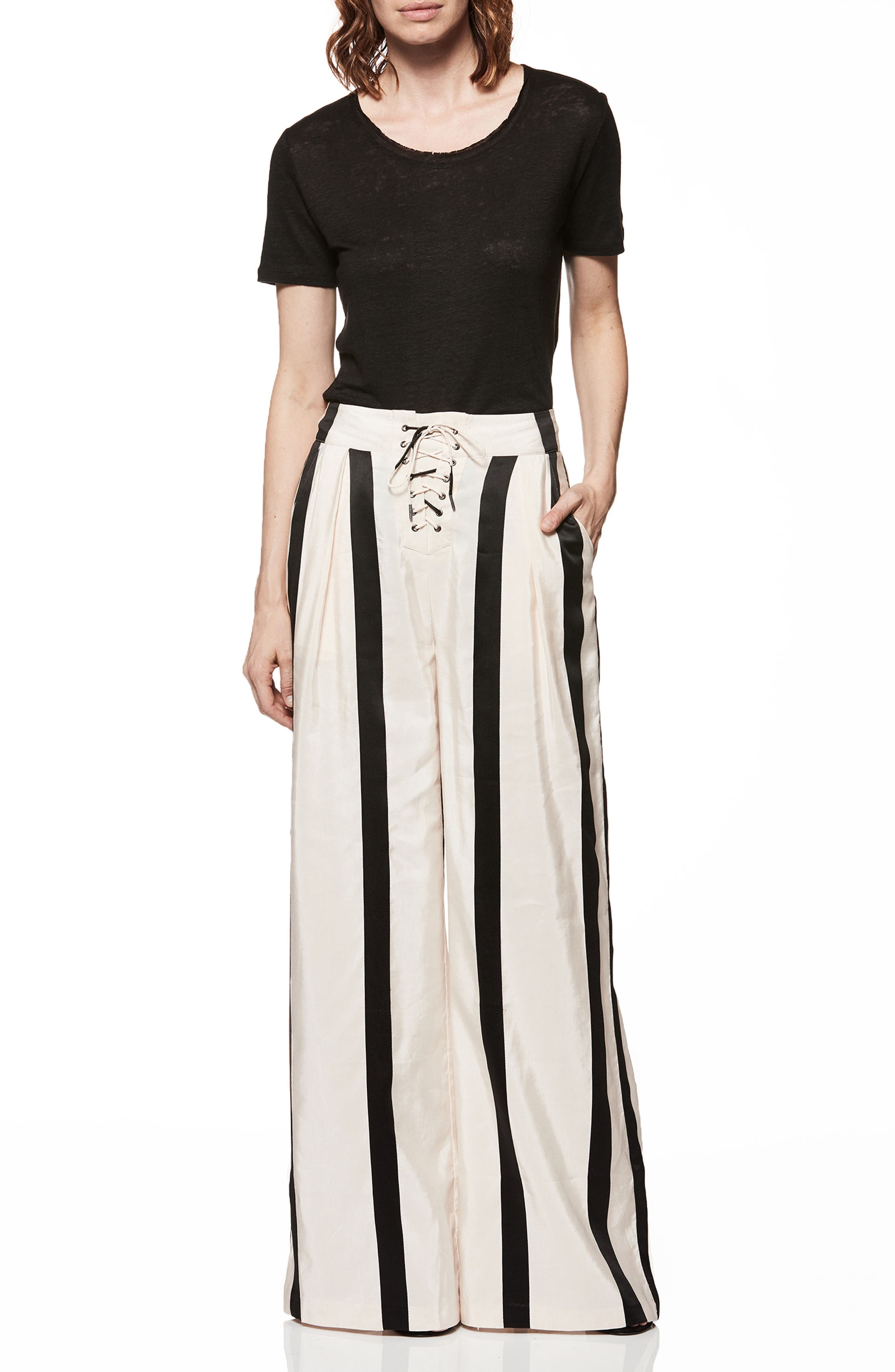Capucine High Waist Wide Leg Pants,                             Alternate thumbnail 4, color,                             BLUSH WITH BLACK