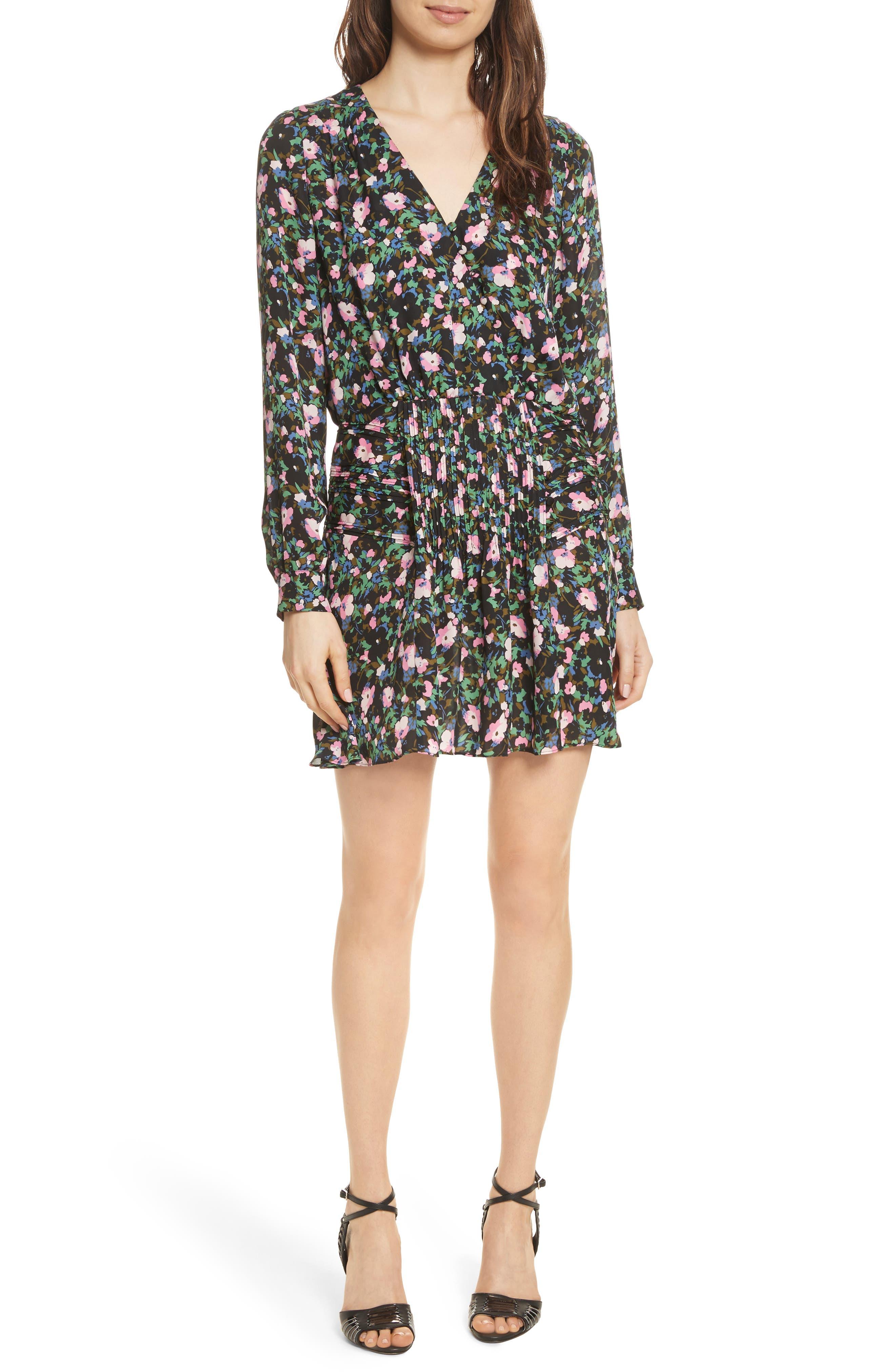 Naomi Floral Print Silk Dress,                             Main thumbnail 1, color,