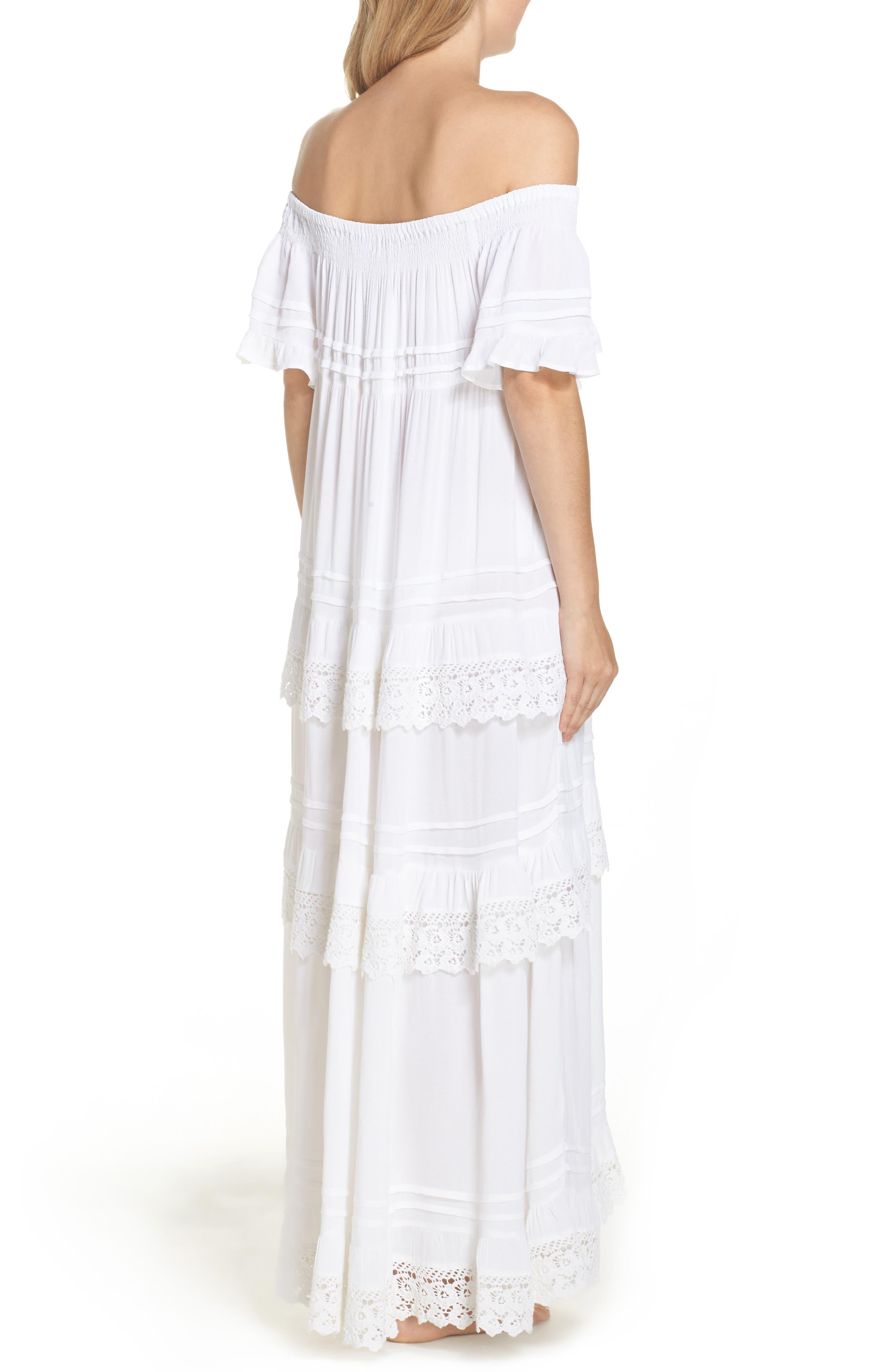 Esmerelda Off the Shoulder Cover-Up Maxi Dress,                             Alternate thumbnail 4, color,