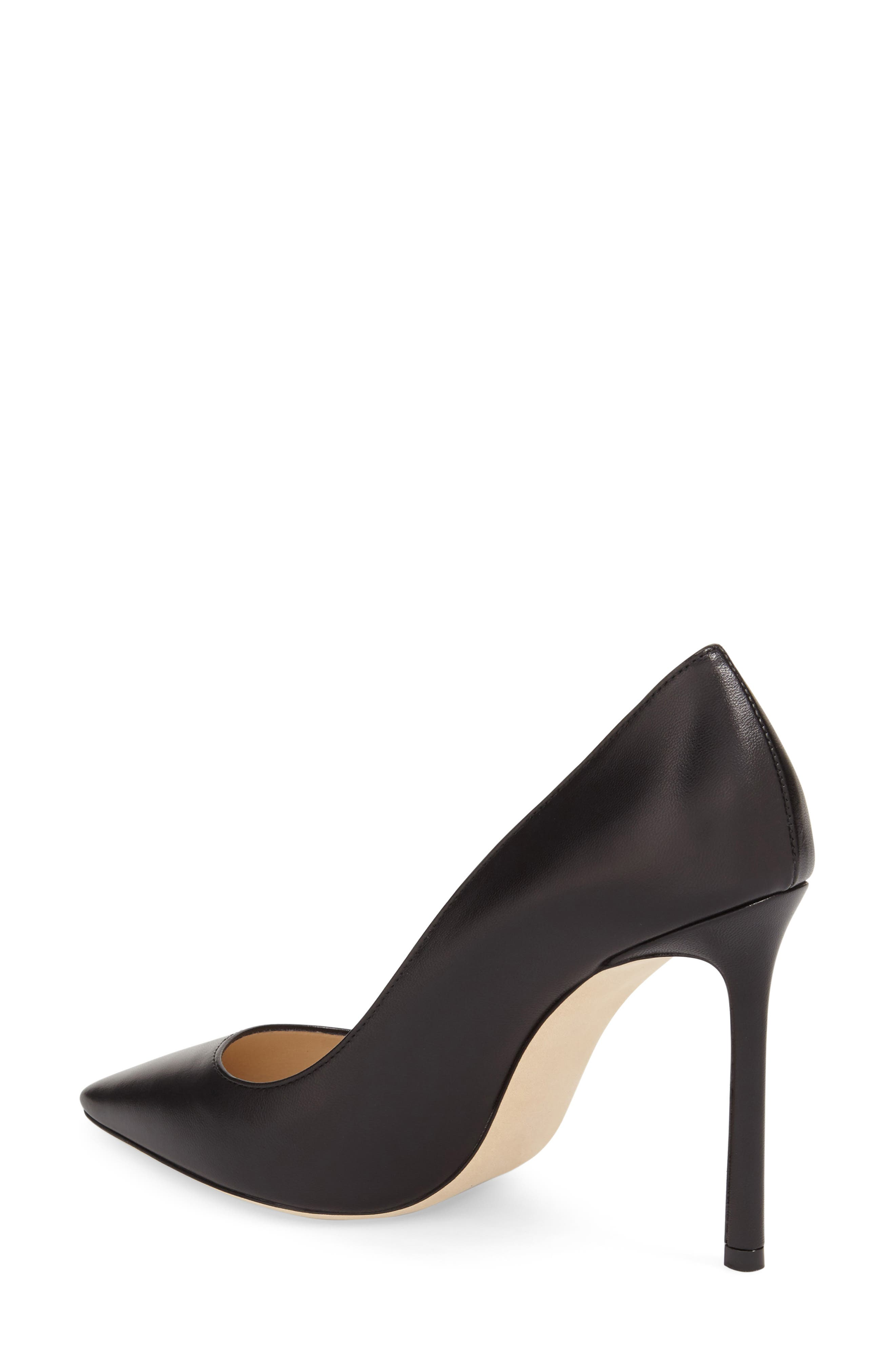'Romy' Pointy Toe Pump,                             Alternate thumbnail 2, color,                             BLACK LEATHER