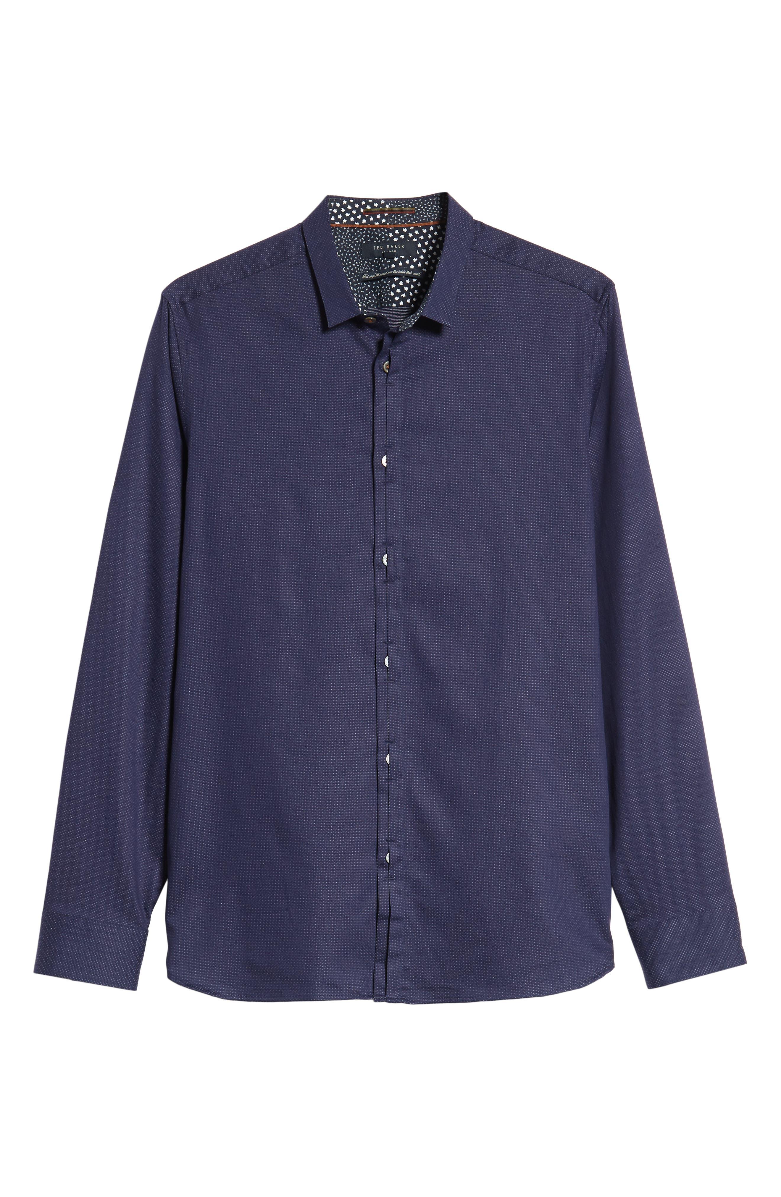 Surrey Q Slim Fit Sport Shirt,                             Alternate thumbnail 5, color,                             NAVY