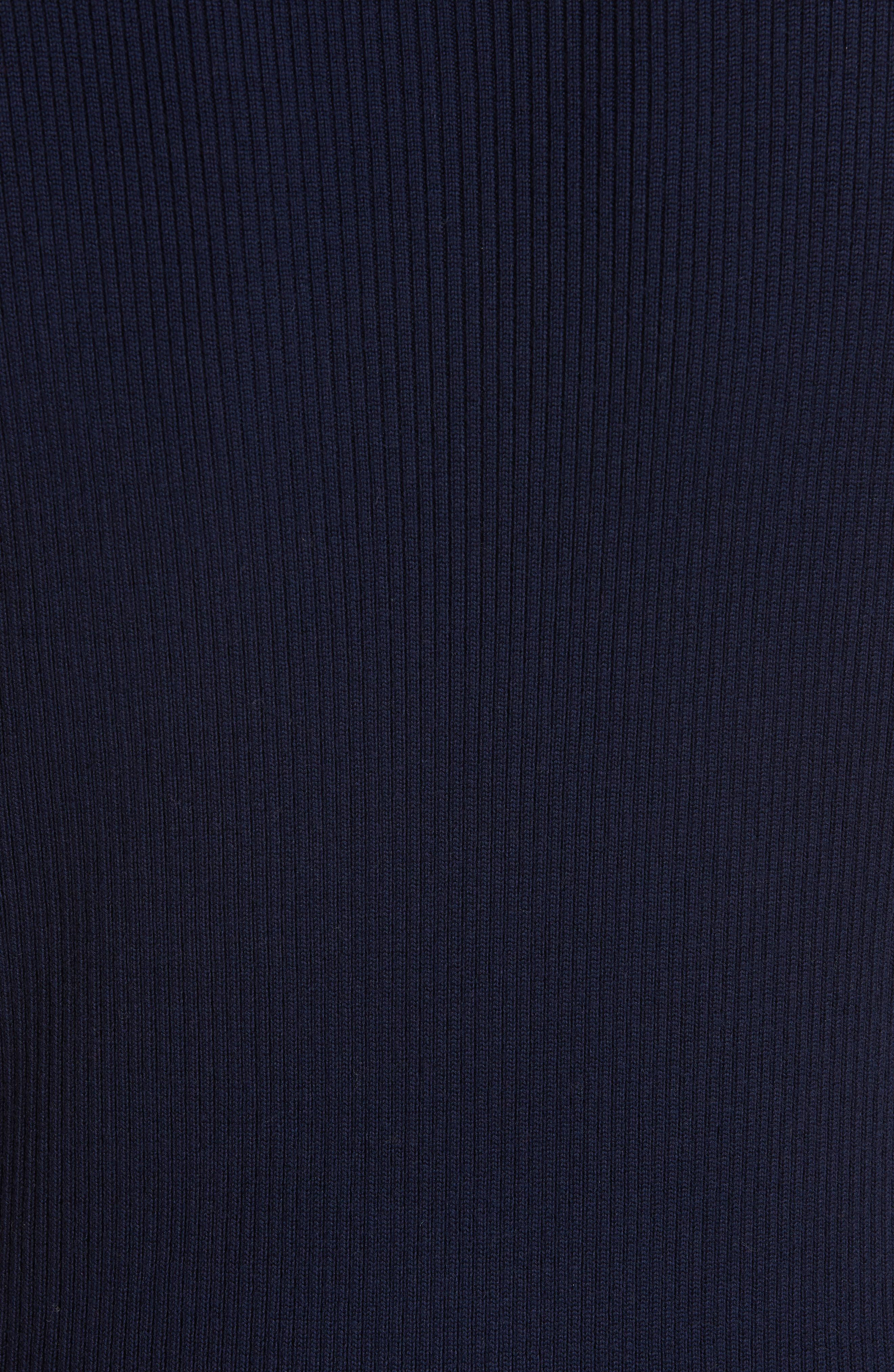 Midi Sweater Dress,                             Alternate thumbnail 5, color,                             NAVY/ GOLD