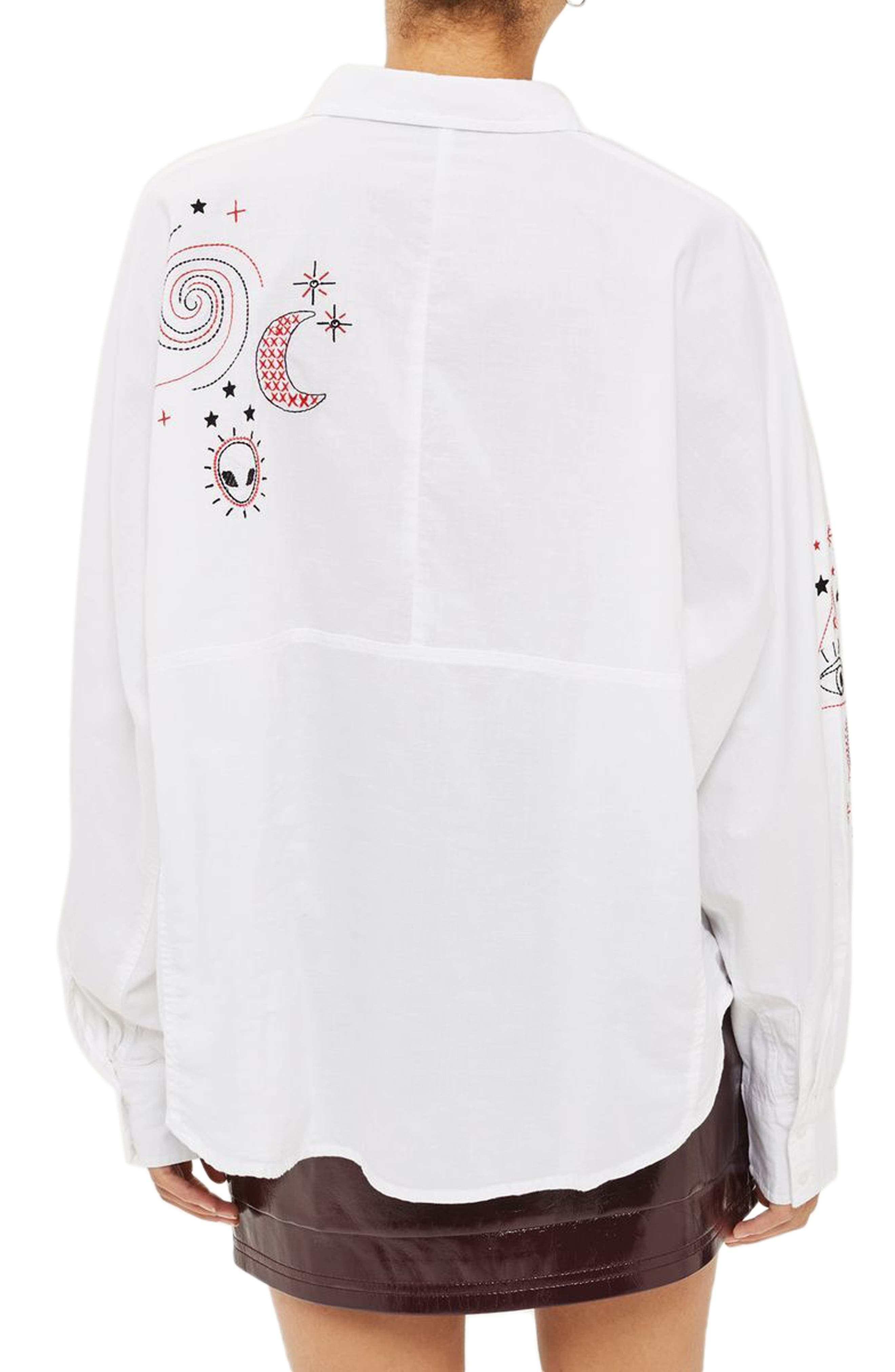 Doodle Believer Embroidered Shirt,                             Alternate thumbnail 2, color,                             900
