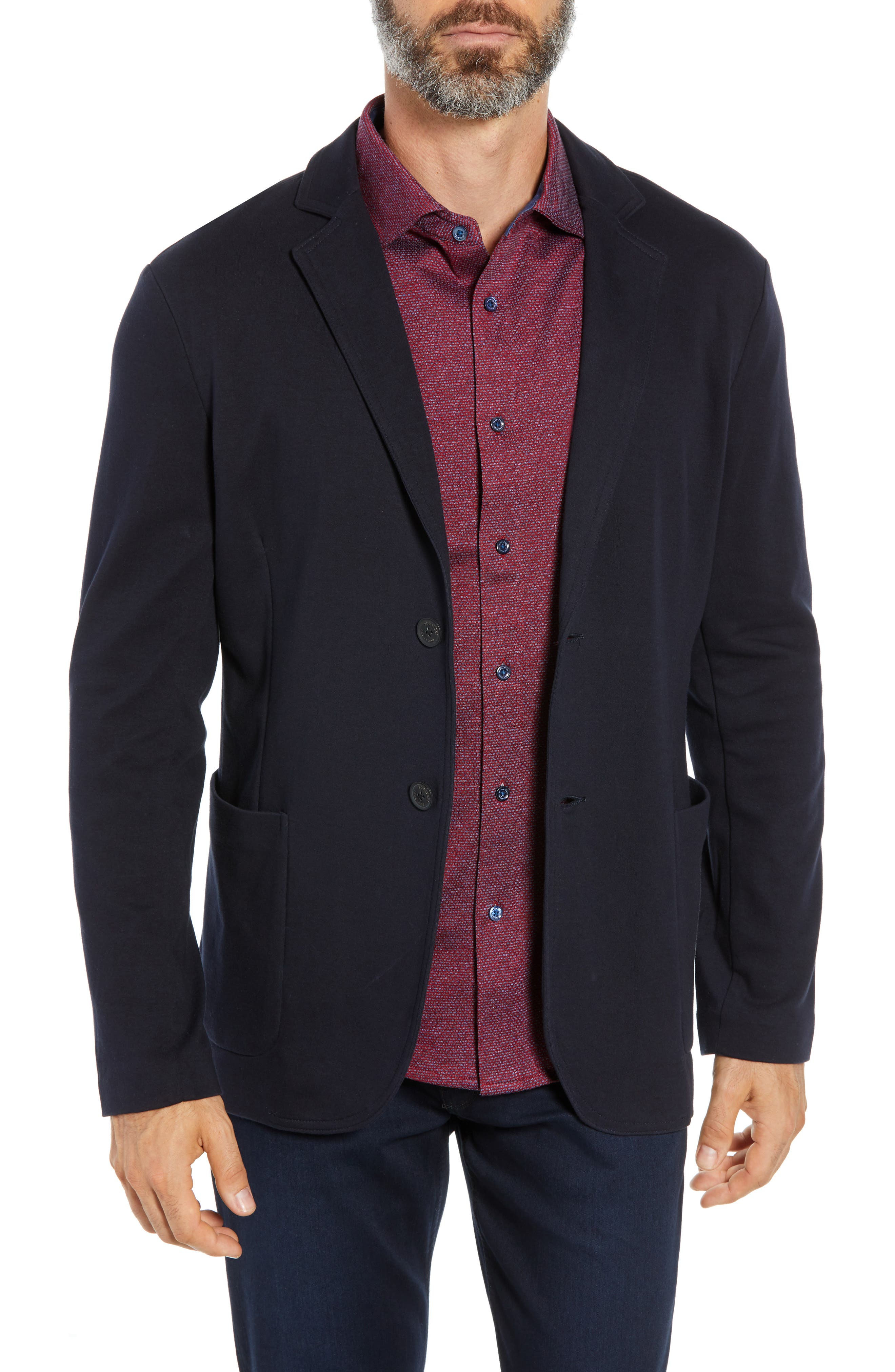 Regular Fit Stretch Cotton Blazer,                         Main,                         color, NAVY