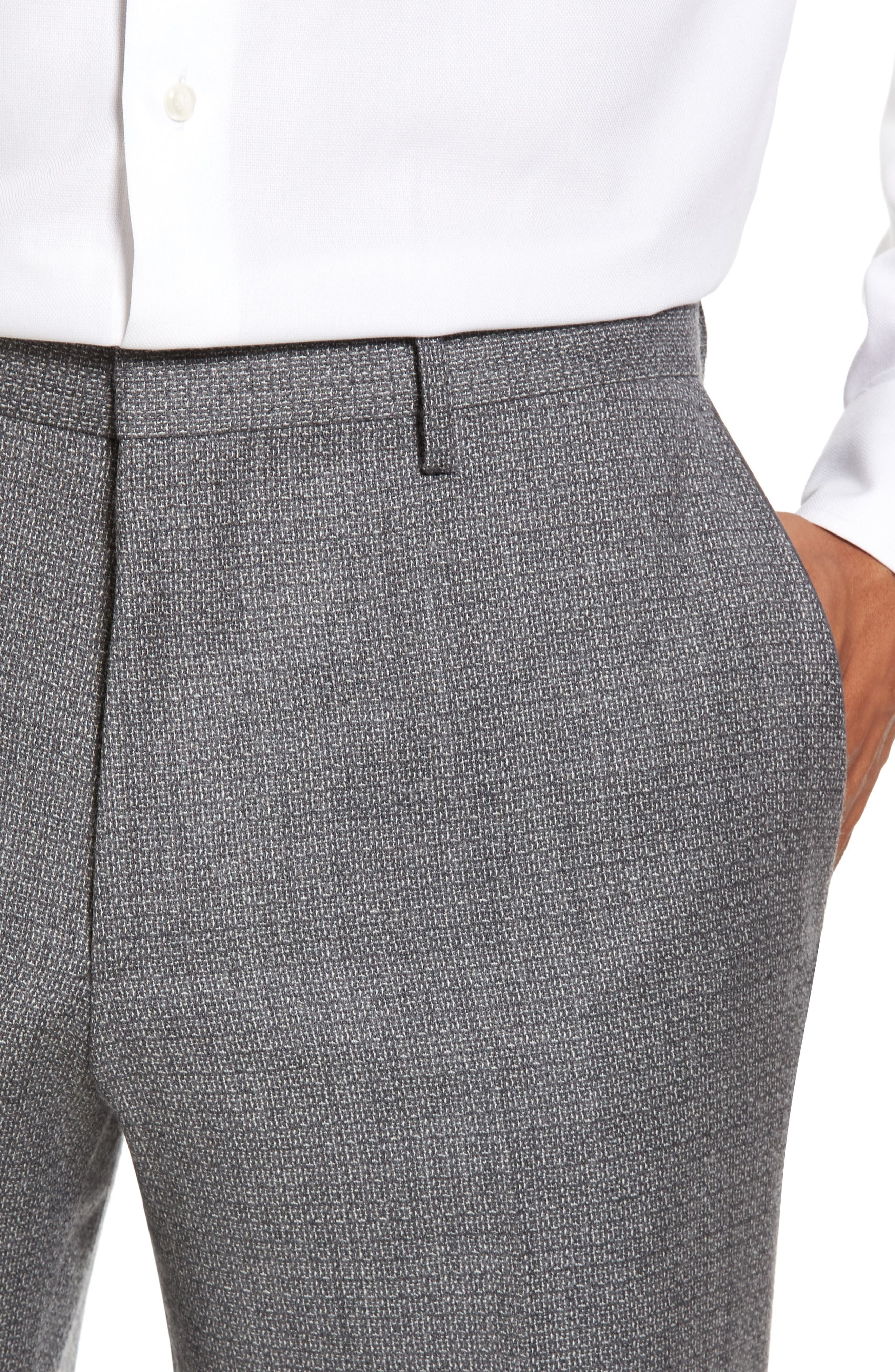 Giro Flat Front Solid Wool Trousers,                             Alternate thumbnail 4, color,                             030