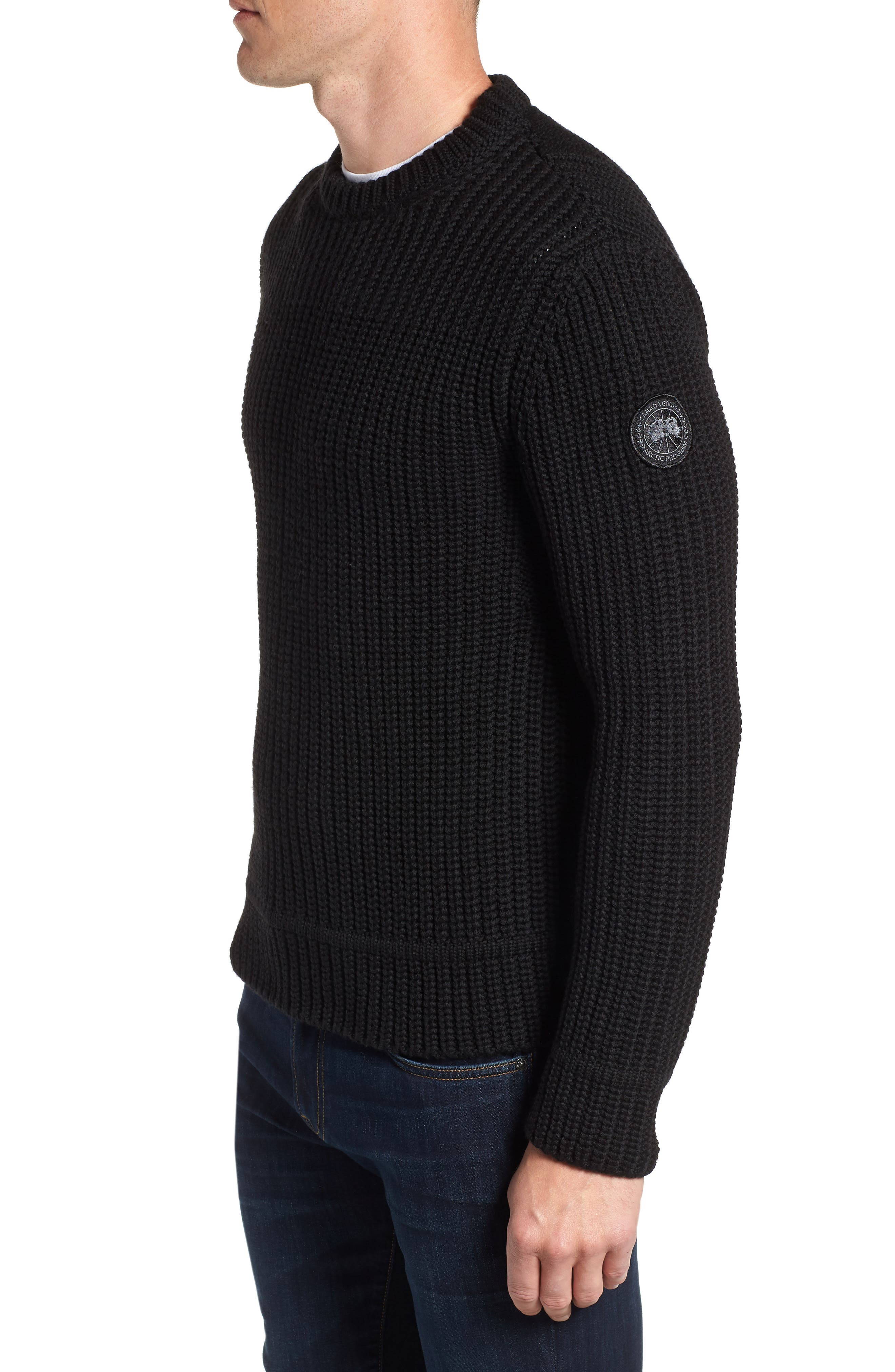 Galloway Regular Fit Merino Wool Sweater,                             Alternate thumbnail 3, color,                             BLACK