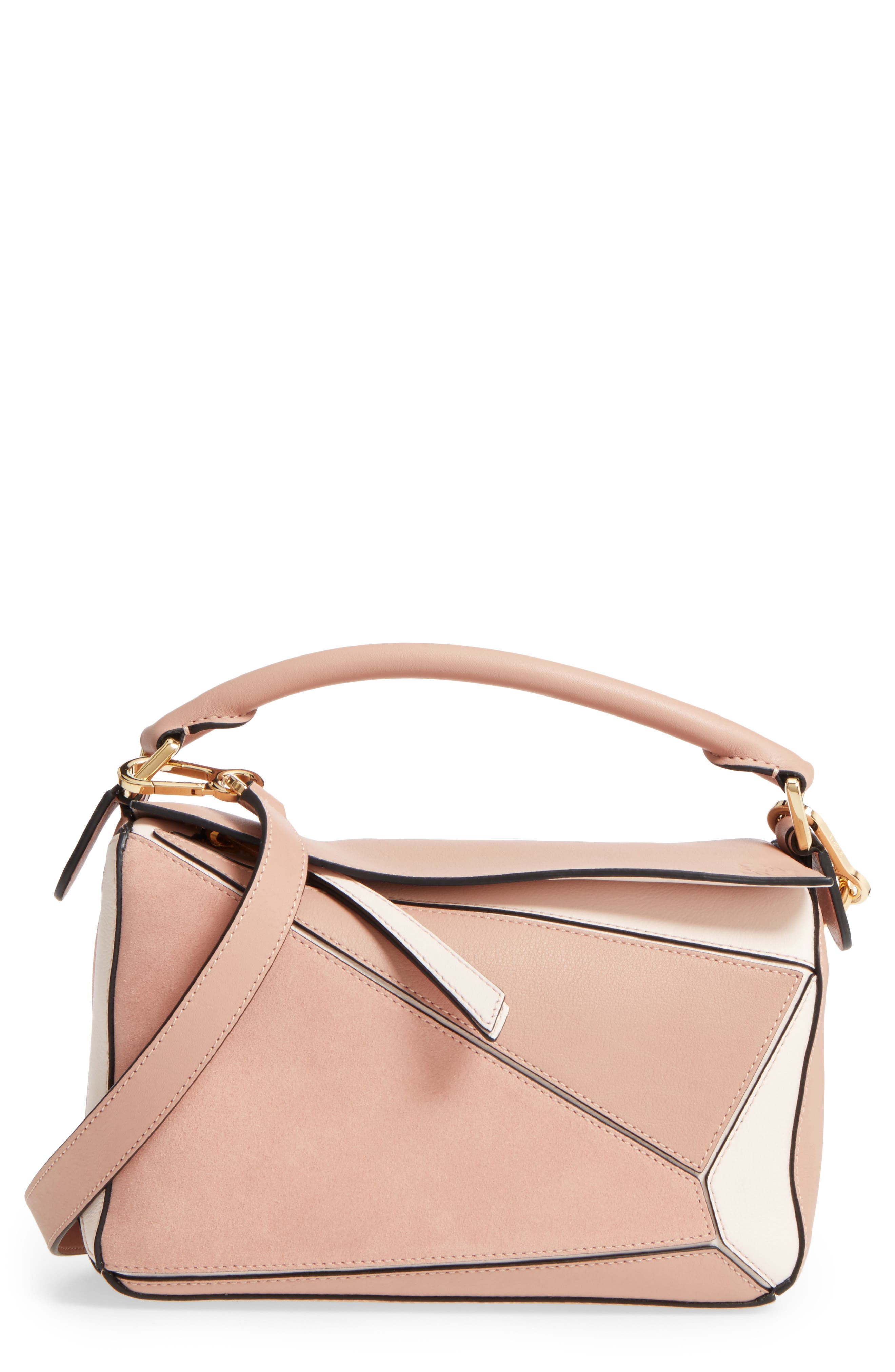 Small Puzzle Bicolor Leather Bag,                             Main thumbnail 1, color,                             BLUSH MULTITONE
