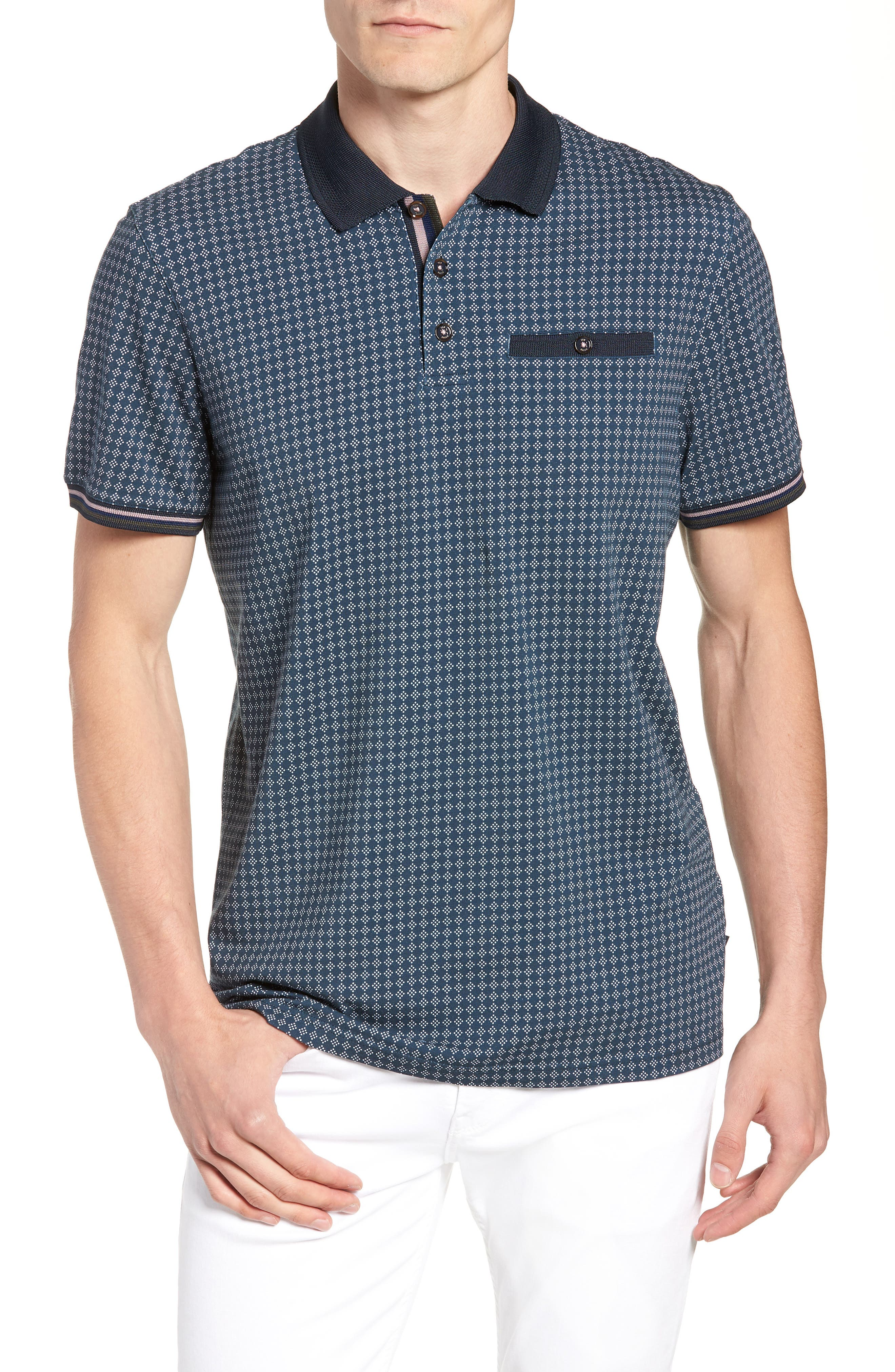 Pezze Slim Fit Geo Print Polo,                         Main,                         color, NAVY