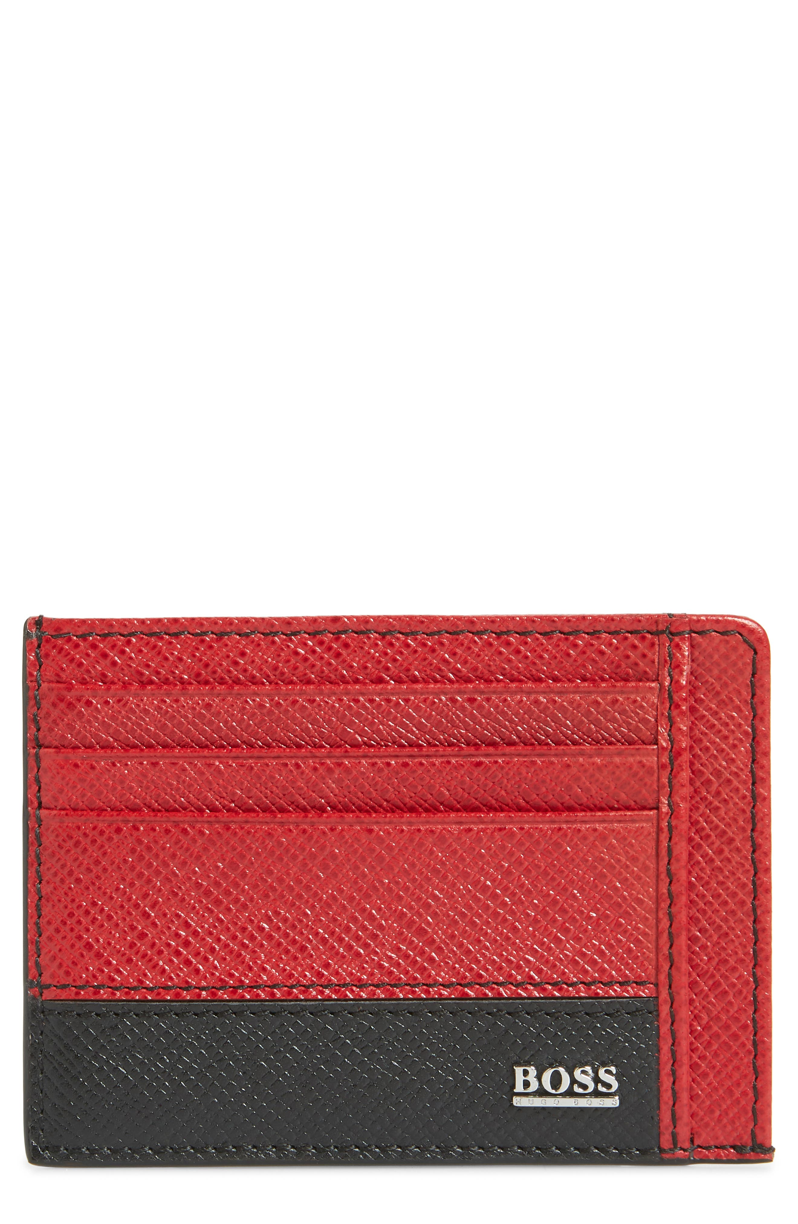 Embossed Leather Card Case,                         Main,                         color, DARK RED