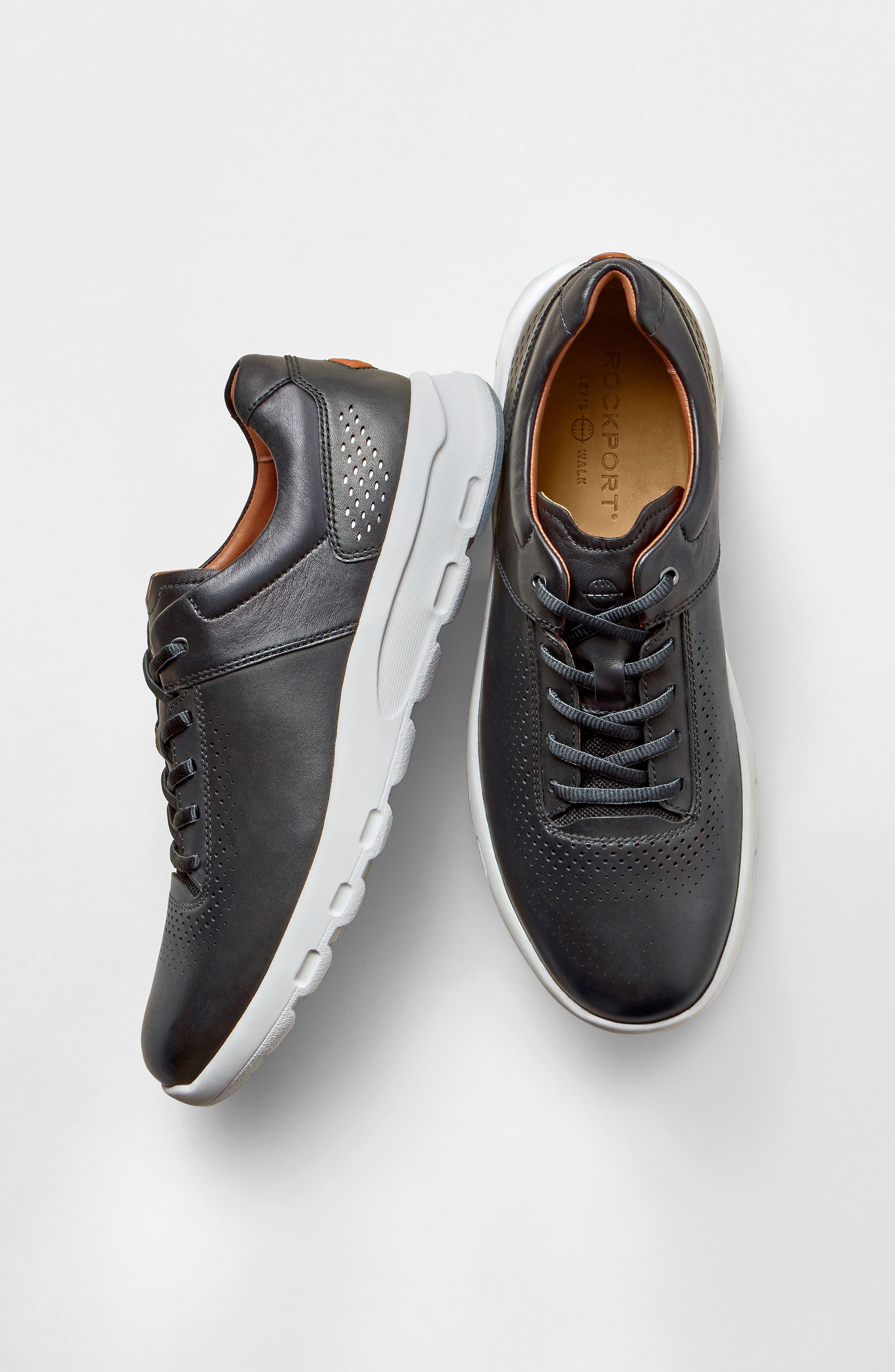 Let's Walk<sup>®</sup> Sneaker,                             Alternate thumbnail 8, color,                             BLACK LEATHER