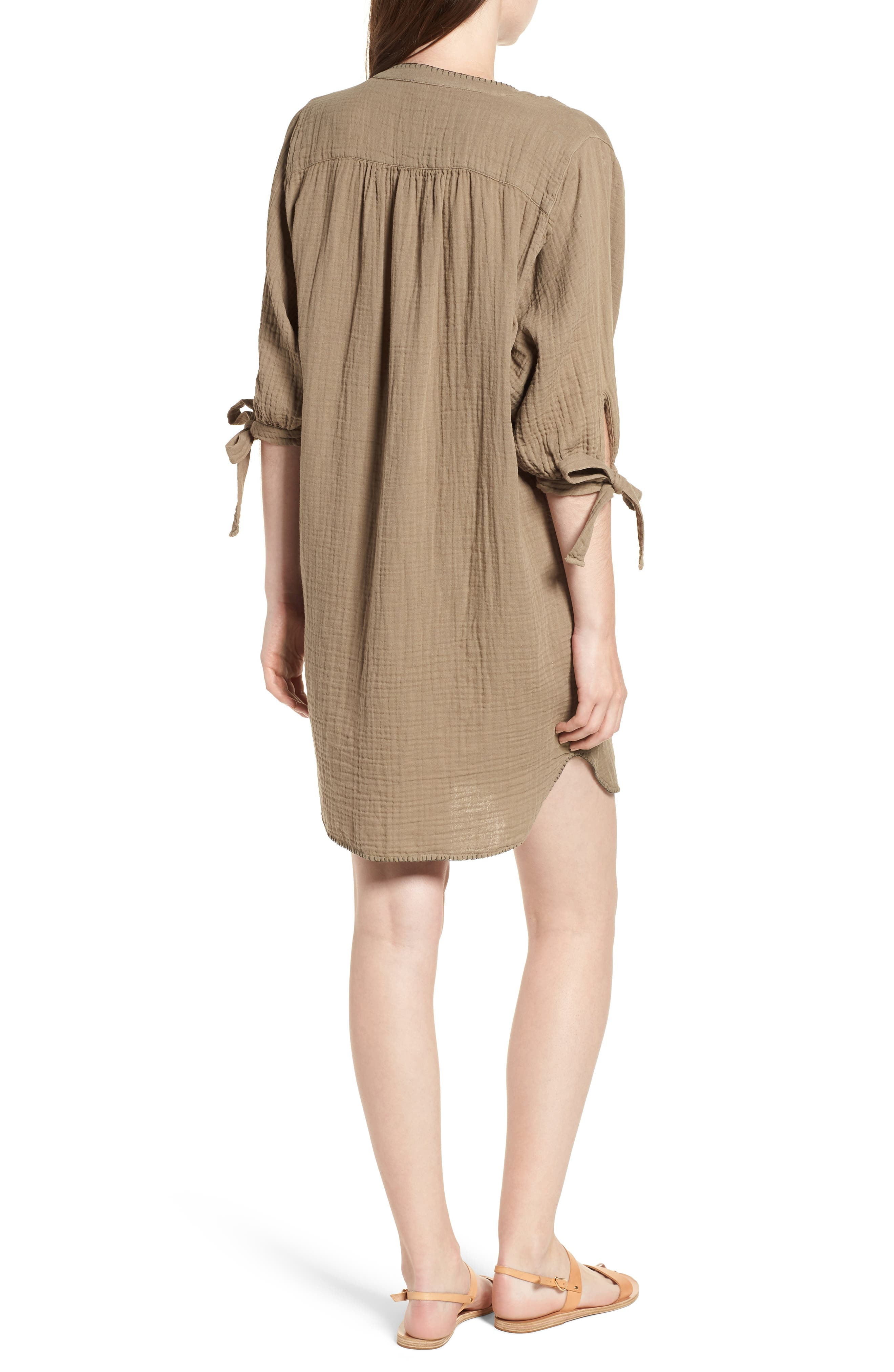 Whipstitch Tie Sleeve Shirtdress,                             Alternate thumbnail 2, color,                             OLIVE