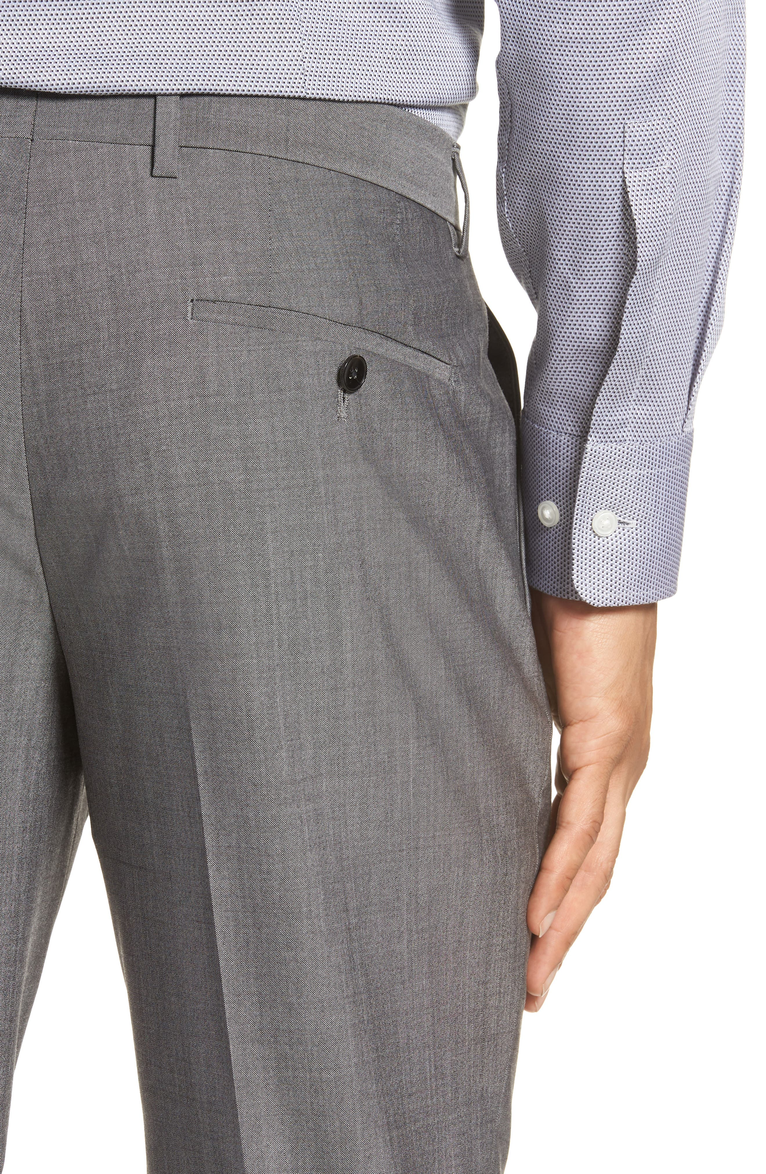 Genesis Flat Front Solid Wool Trousers,                             Alternate thumbnail 4, color,                             GREY