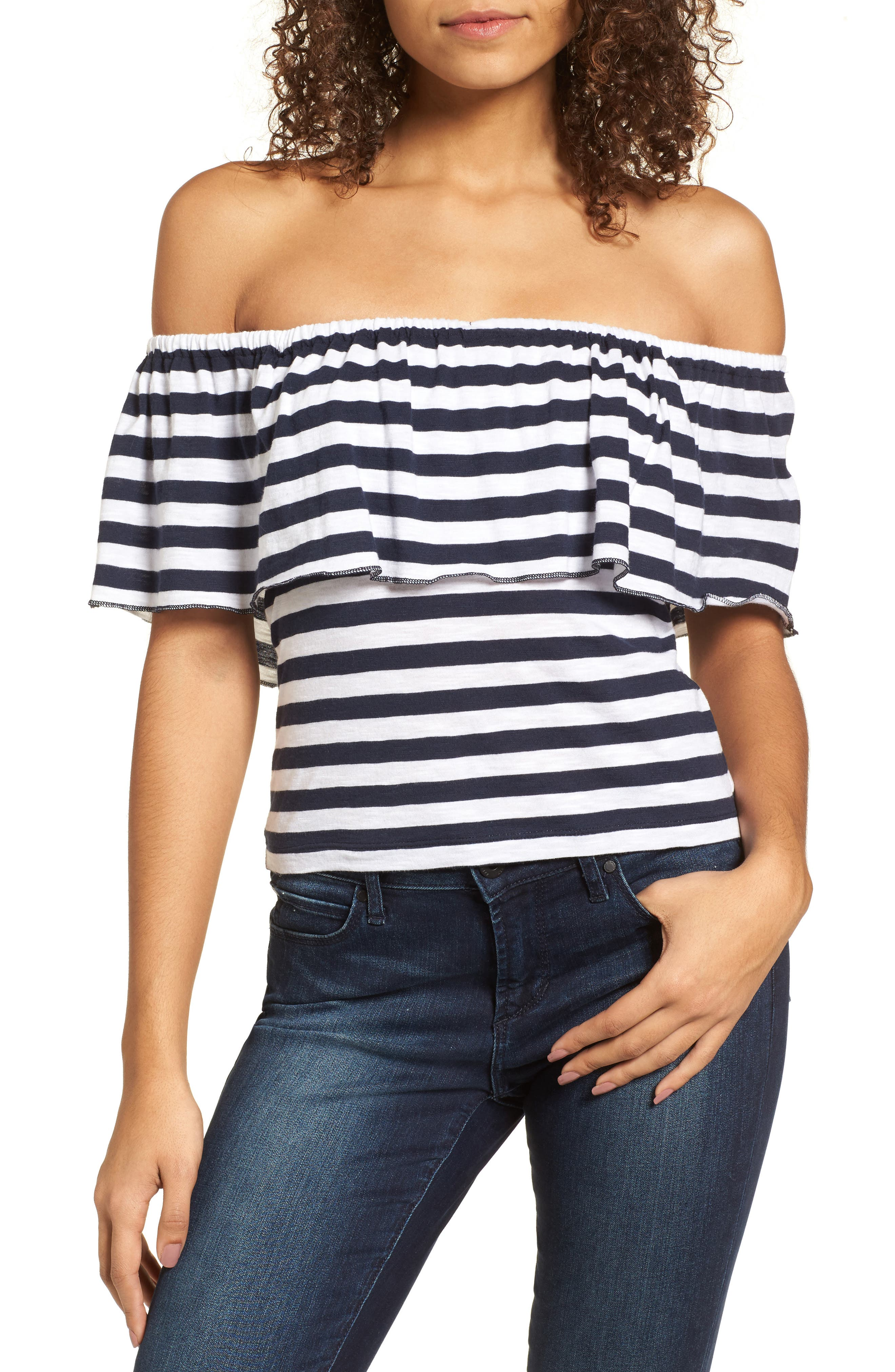 Stripe Ruffle Off the Shoulder Tee,                             Main thumbnail 1, color,                             410