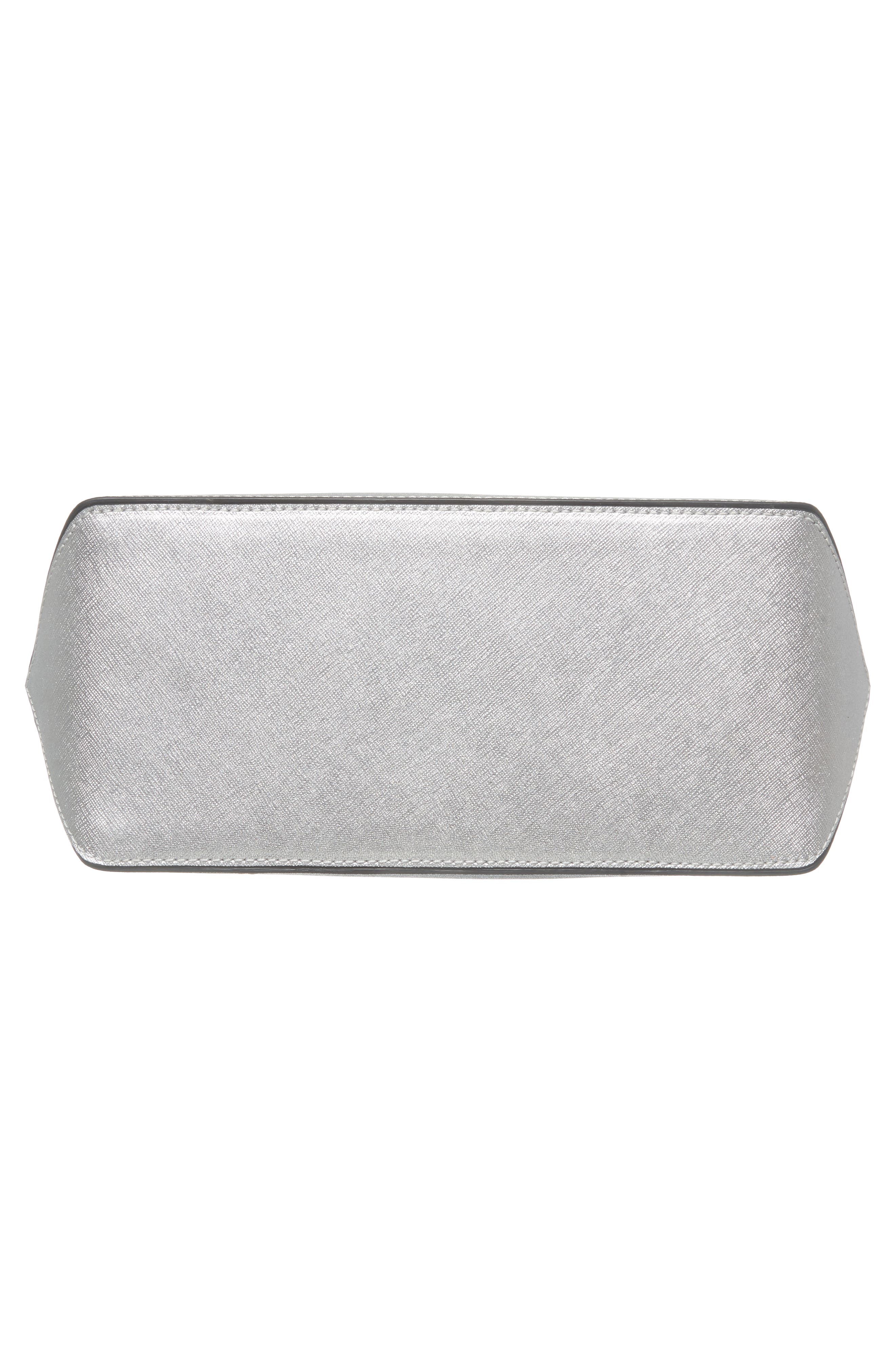 Mini Metallic Leather Logo Shopper Tote,                             Alternate thumbnail 6, color,                             SILVER