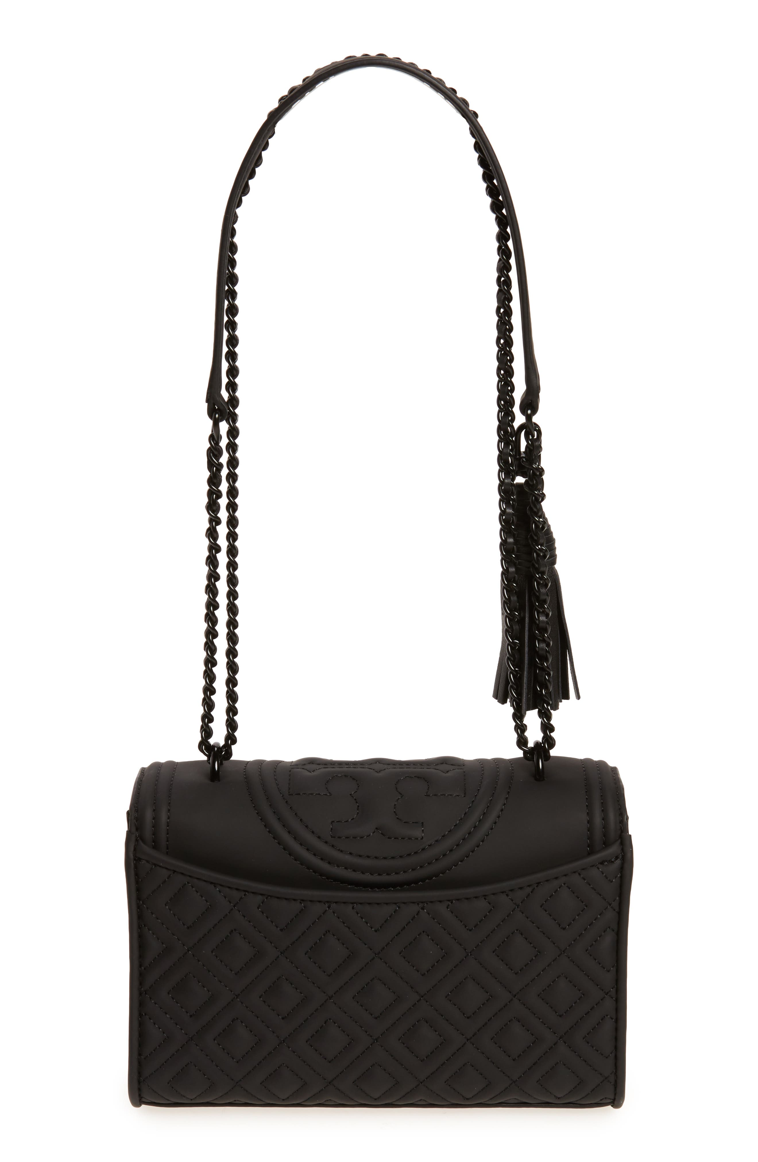 Small Fleming Quilted Shoulder Bag,                             Alternate thumbnail 3, color,                             BLACK
