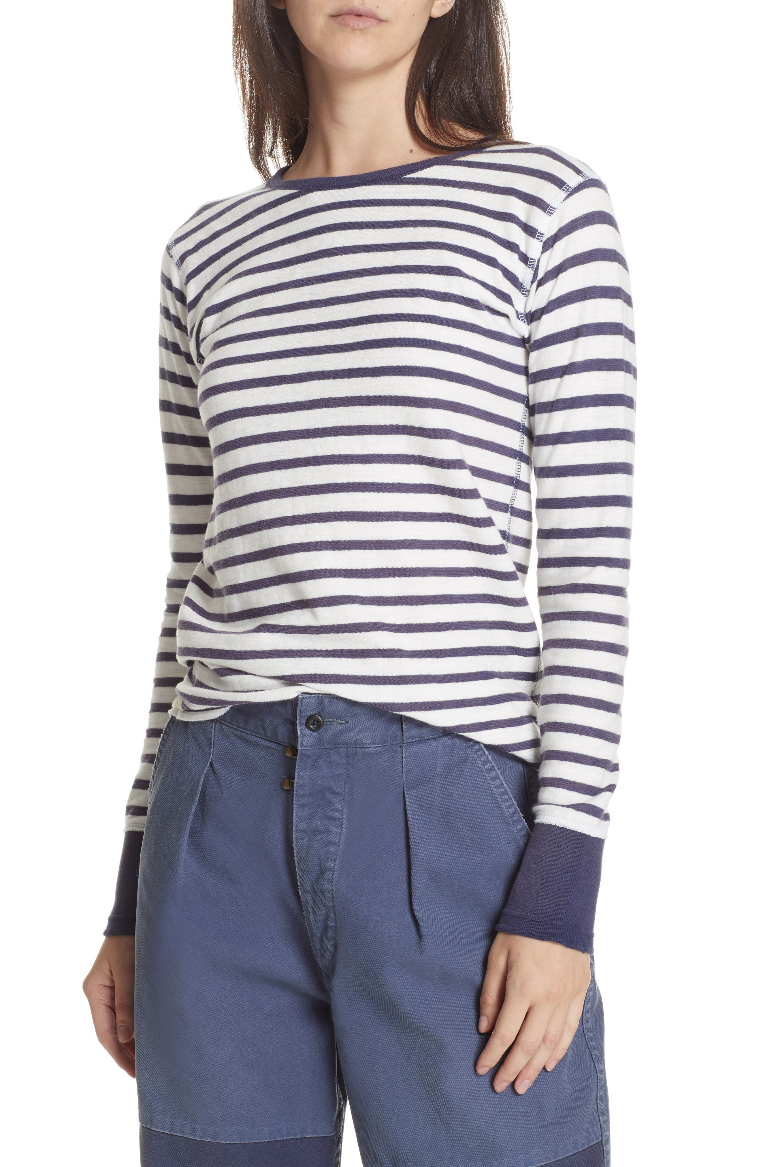 Stripe Top,                         Main,                         color, DECK WASH WHITE/ FLAG BLUE