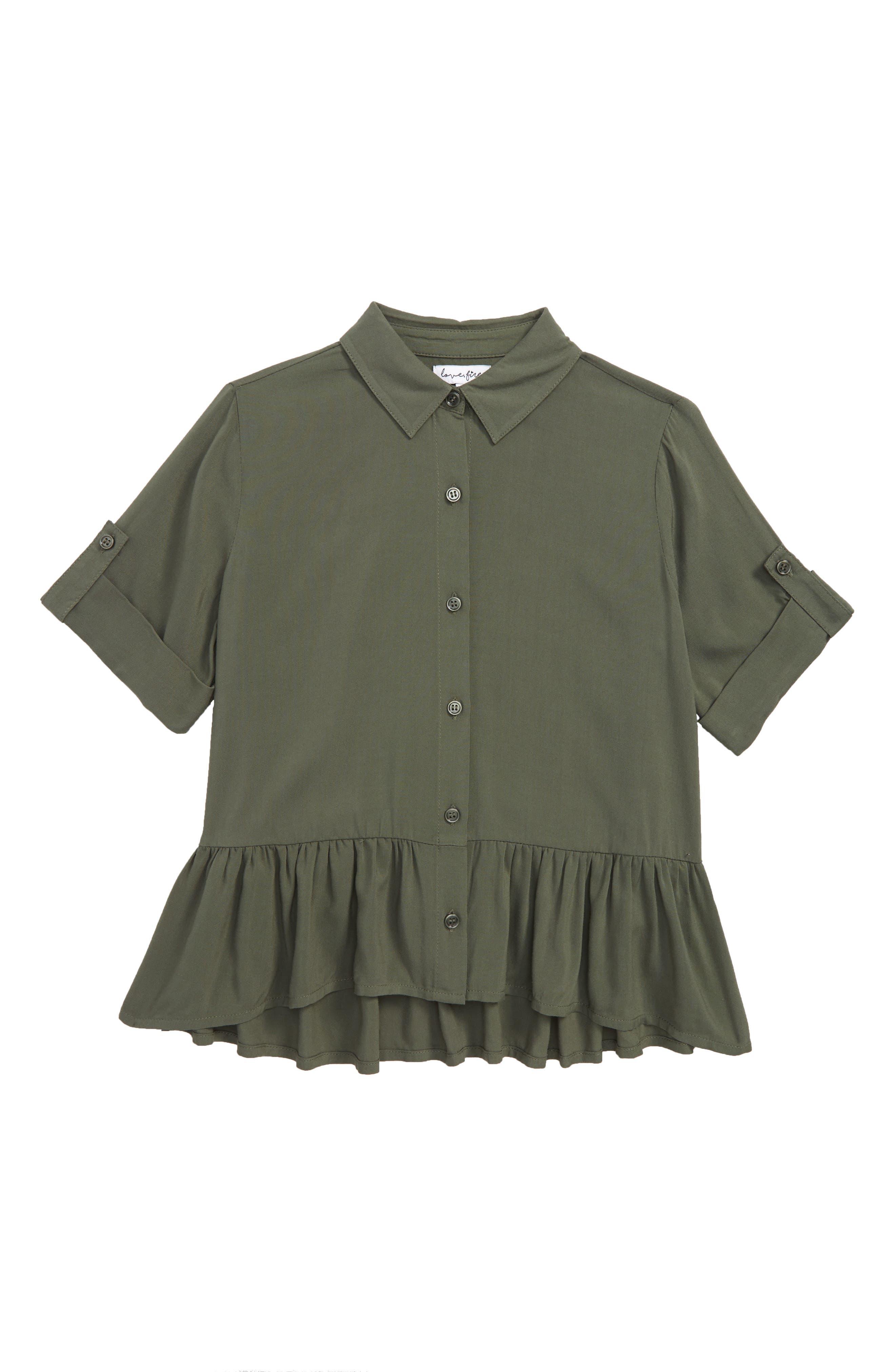 Ruffle Hem Shirt,                         Main,                         color, 300