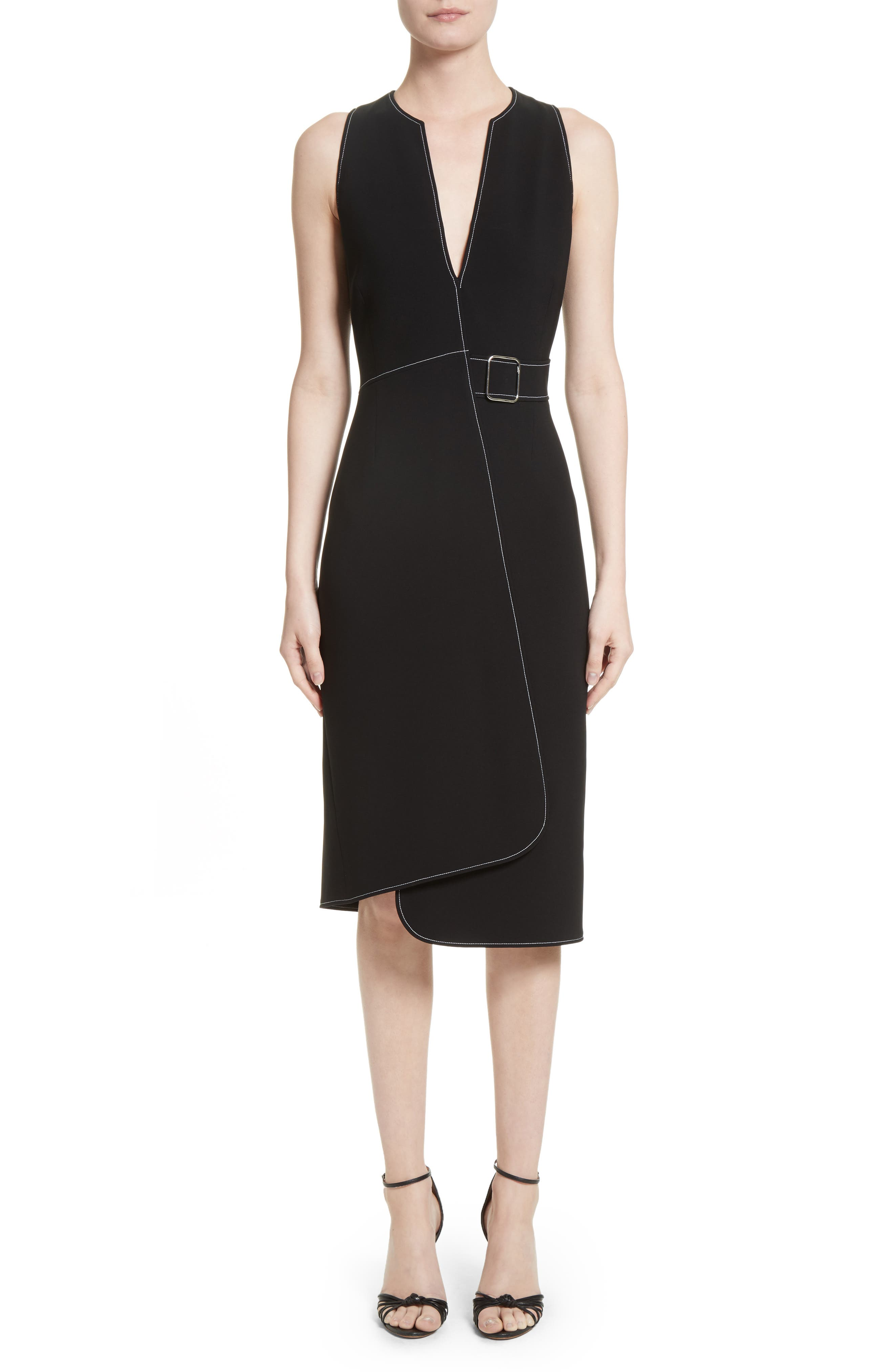 Asymmetrical Belted Dress,                             Main thumbnail 1, color,                             001