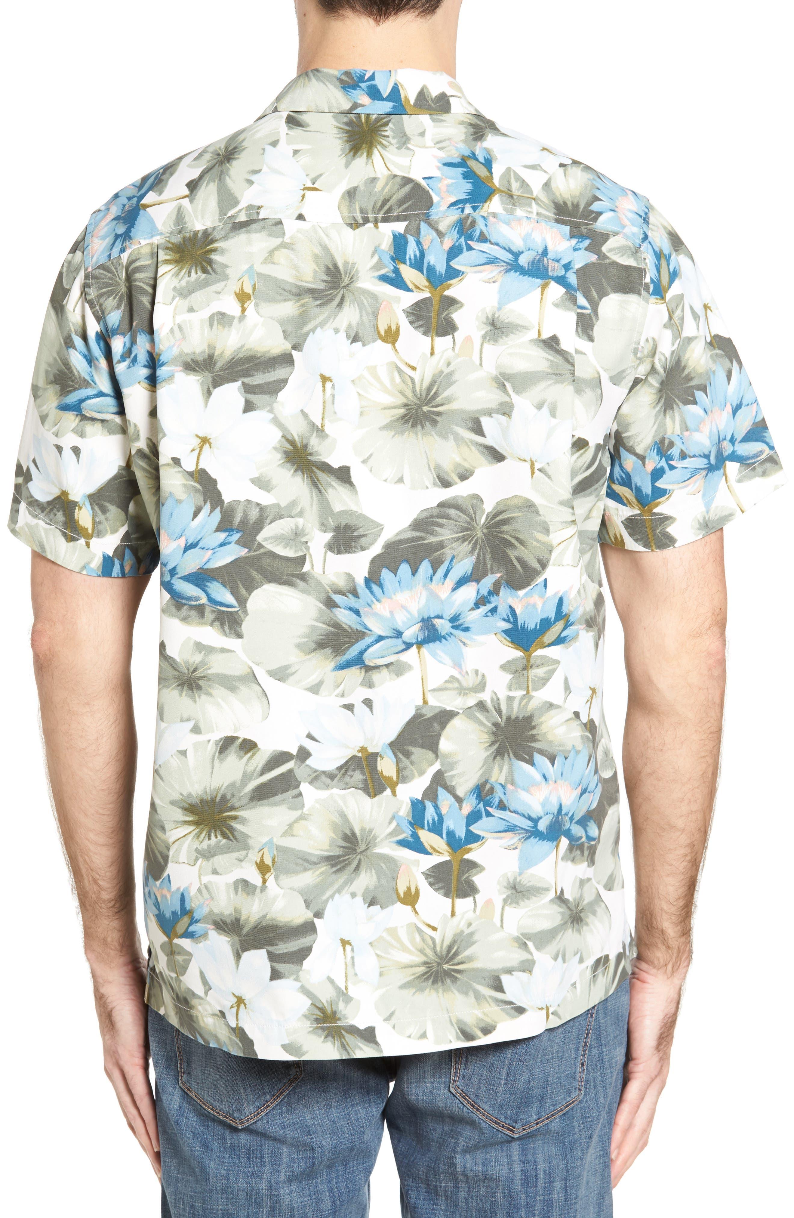 Lagoon Lotus Original Fit Silk Camp Shirt,                             Alternate thumbnail 2, color,                             100