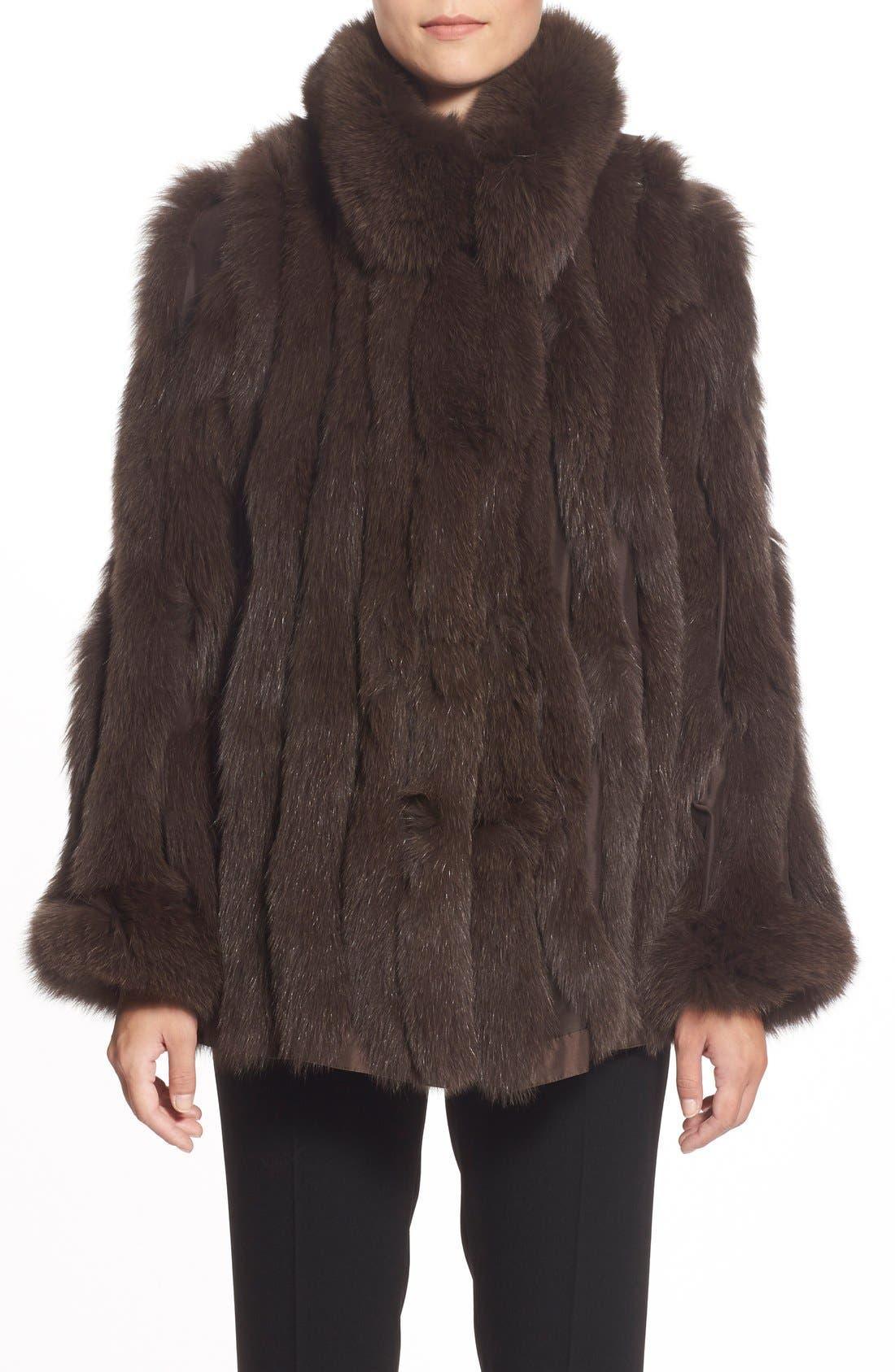 GeorgeSimonton Reversible Silk & Genuine Fox Fur Topper,                             Alternate thumbnail 24, color,
