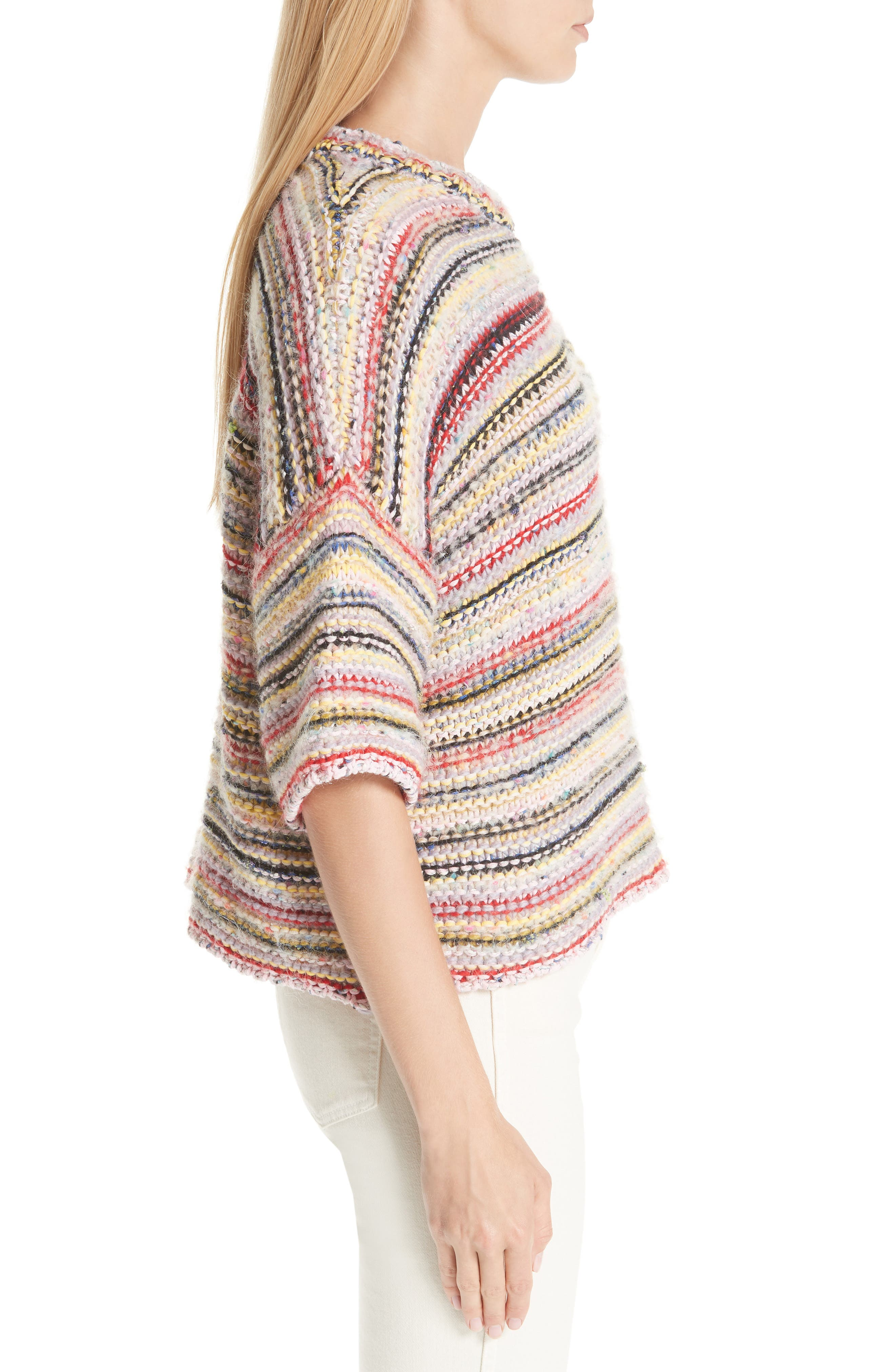Mixed Knit Sweater,                             Alternate thumbnail 3, color,                             MULTICOLOUR 999