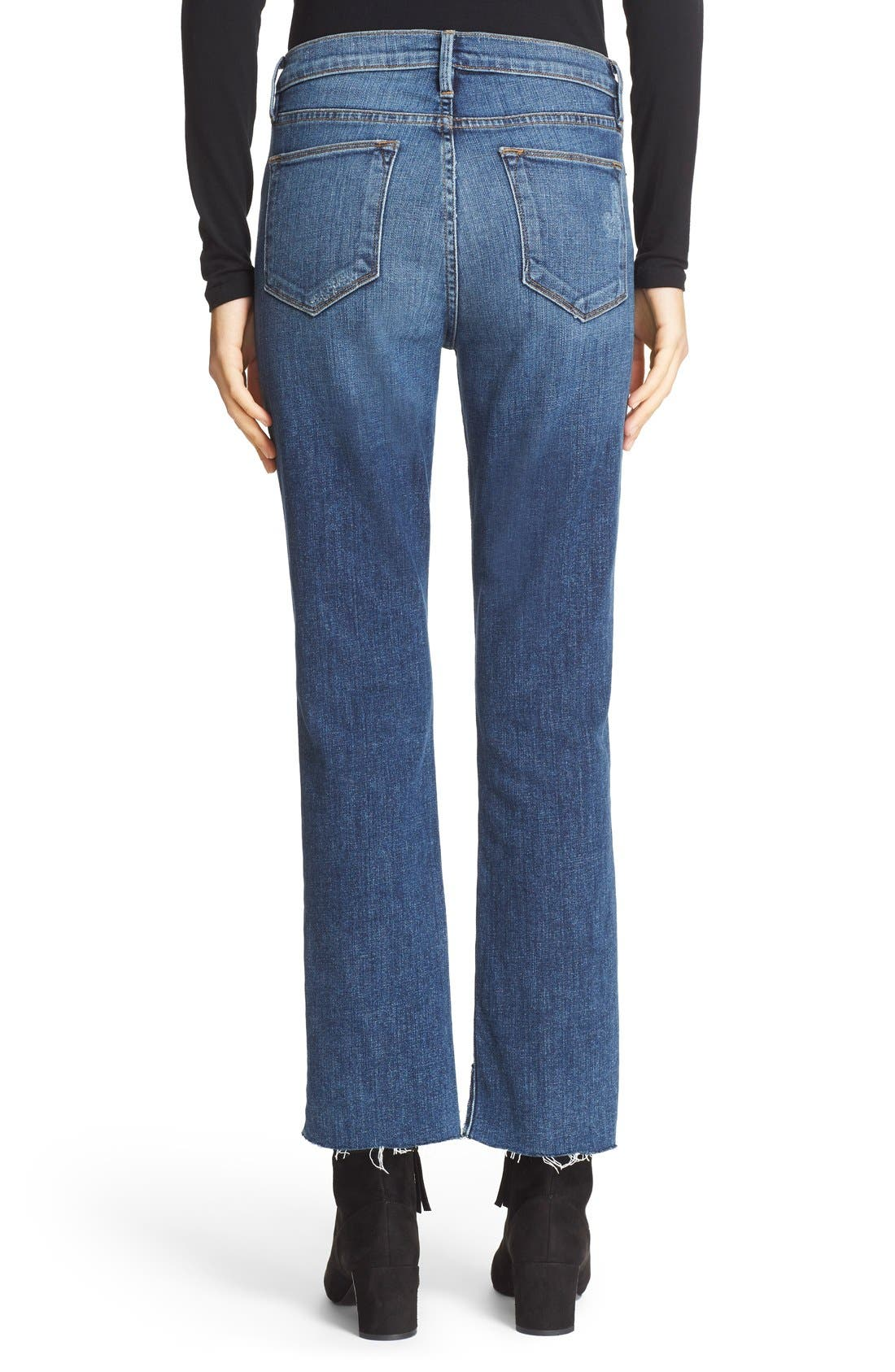 'Le High Straight' High Rise Staggered Hem Jeans,                             Alternate thumbnail 3, color,                             401
