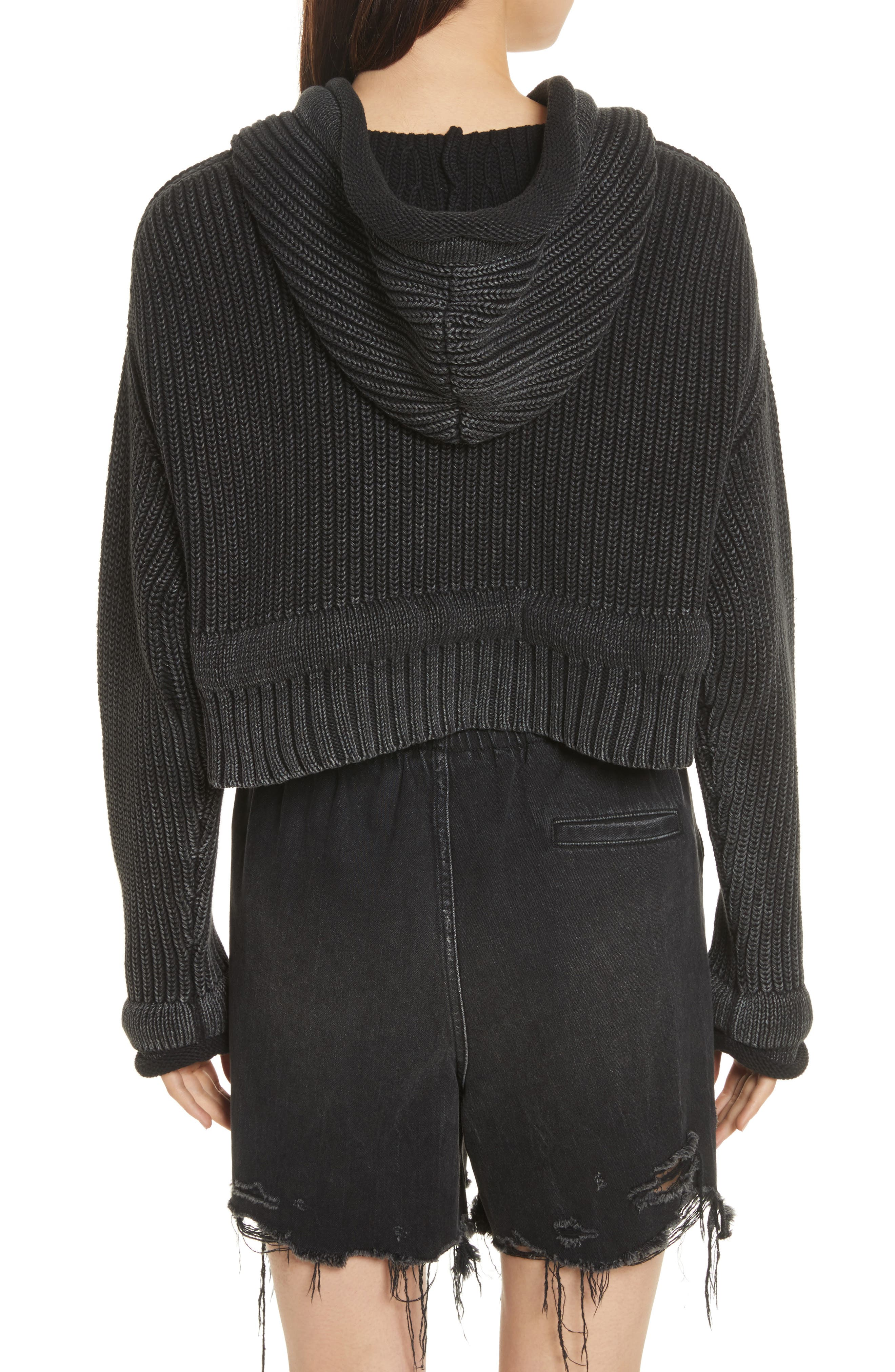 T by Alexander Wang Chunky Knit Hoodie,                             Alternate thumbnail 2, color,                             002