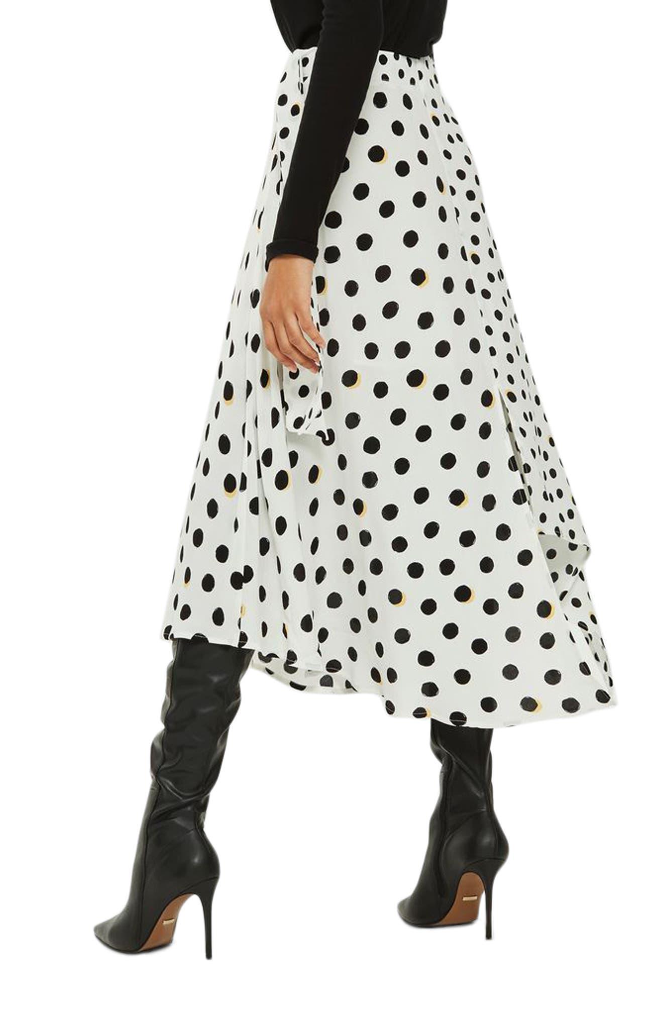 Polka Dot Handkerchief Hem Skirt,                             Alternate thumbnail 4, color,