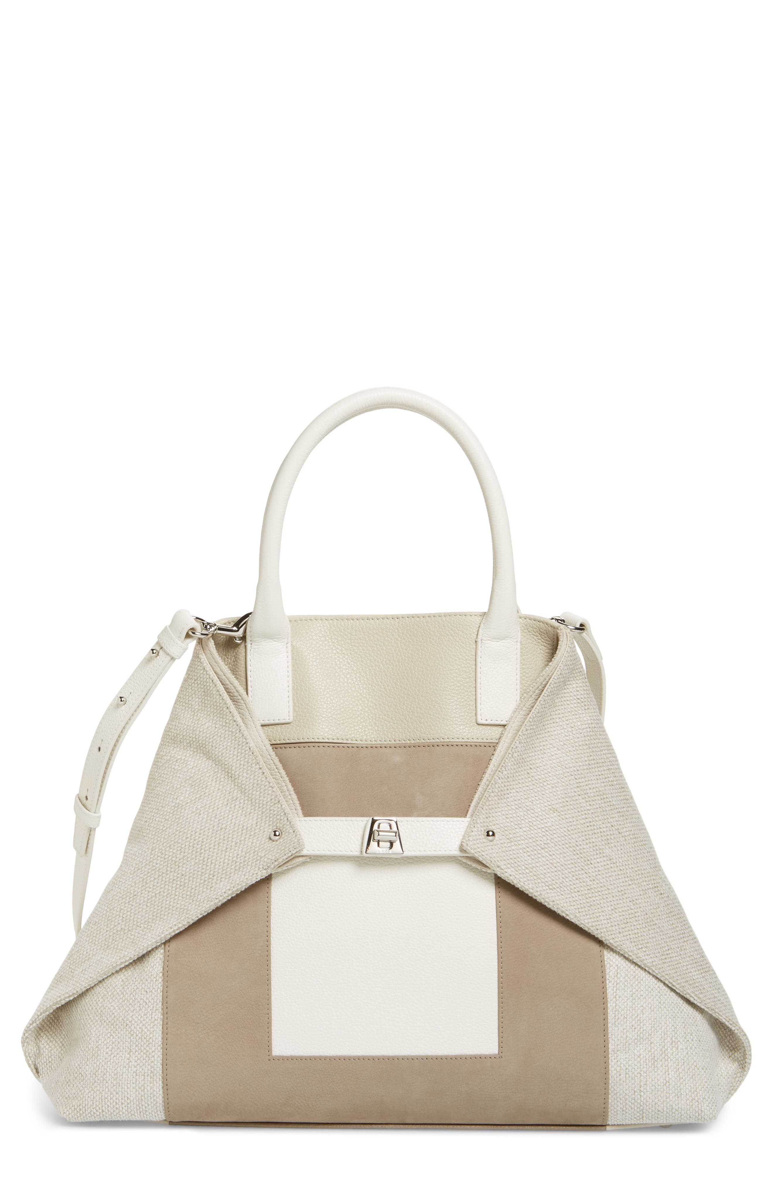 Medium AI Leather & Canvas Tote,                             Main thumbnail 1, color,                             283