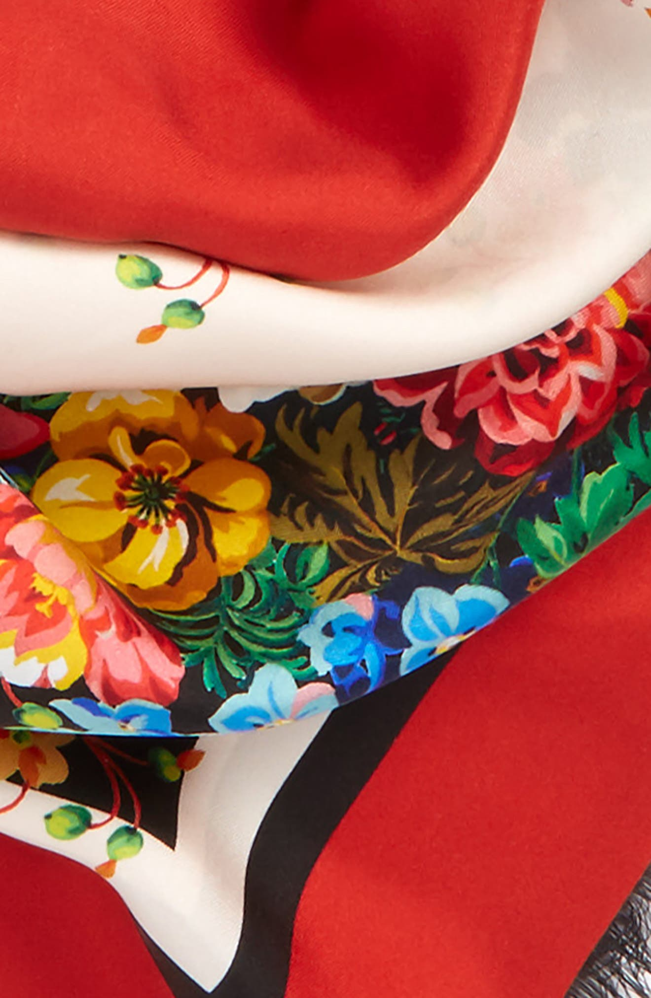 Josephine Stripe Square Silk Shawl,                             Alternate thumbnail 4, color,                             BLACK/ MULTICOLOR