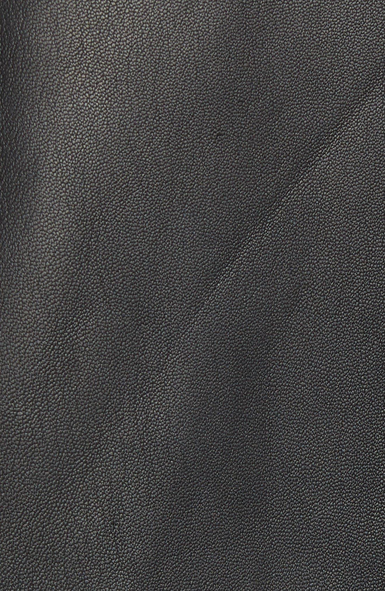 Morvek L.Burgos Trim Fit Leather Jacket,                             Alternate thumbnail 7, color,                             BLACK