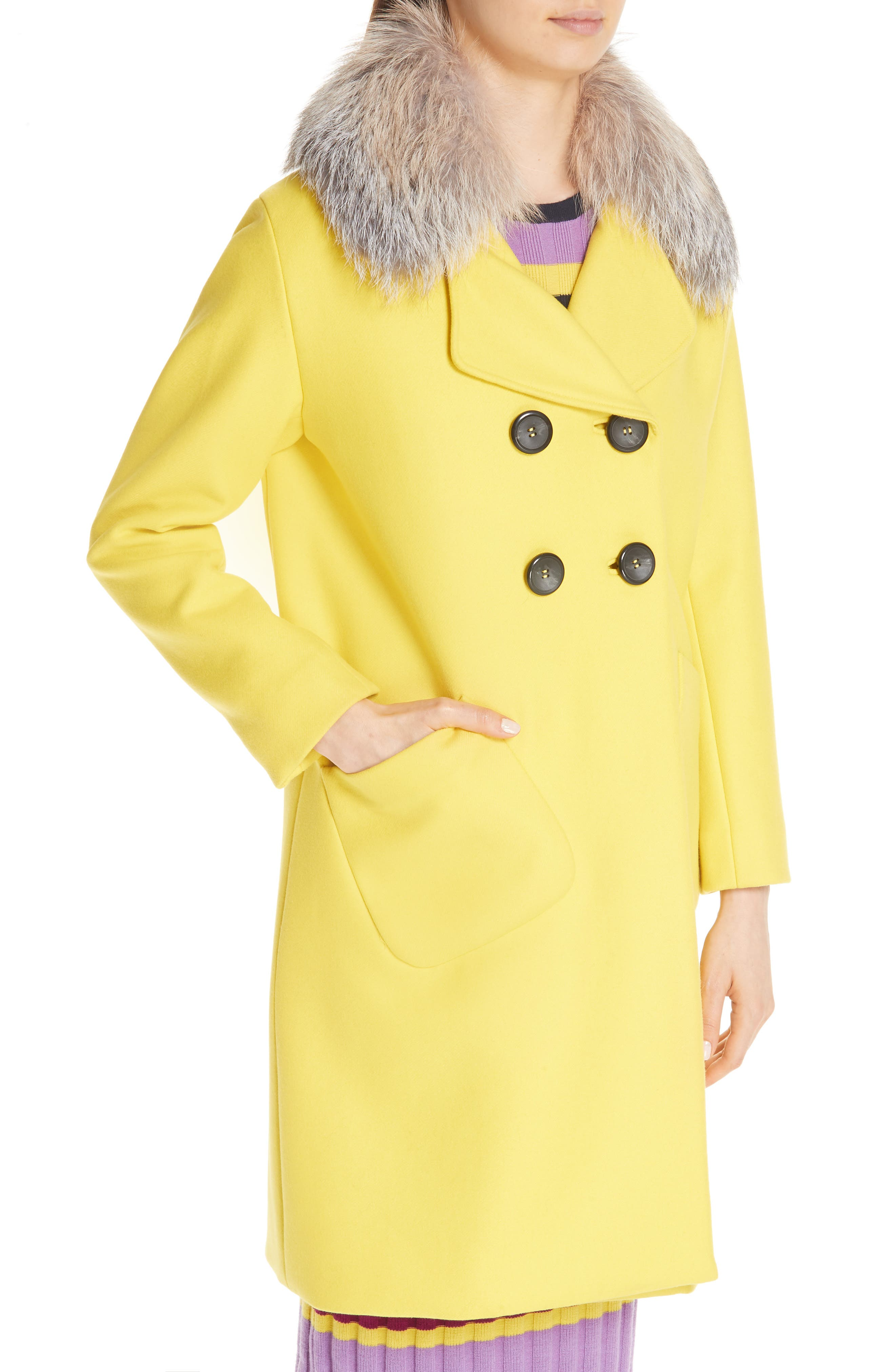 Double Breasted Brushed Wool Coat with Genuine Fox Fur Collar,                             Alternate thumbnail 5, color,                             700