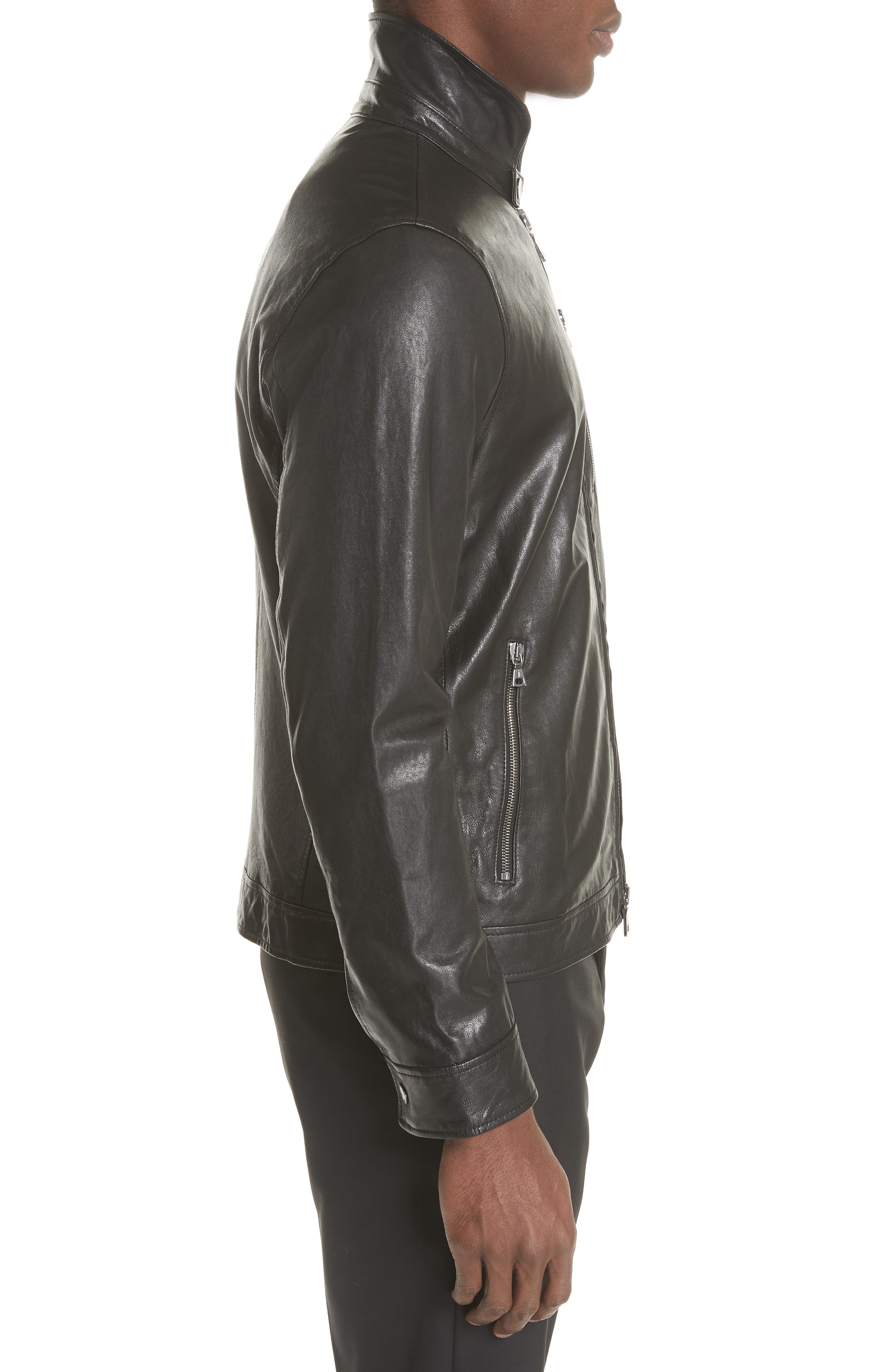Slim Fit Leather Jacket,                             Alternate thumbnail 3, color,                             001
