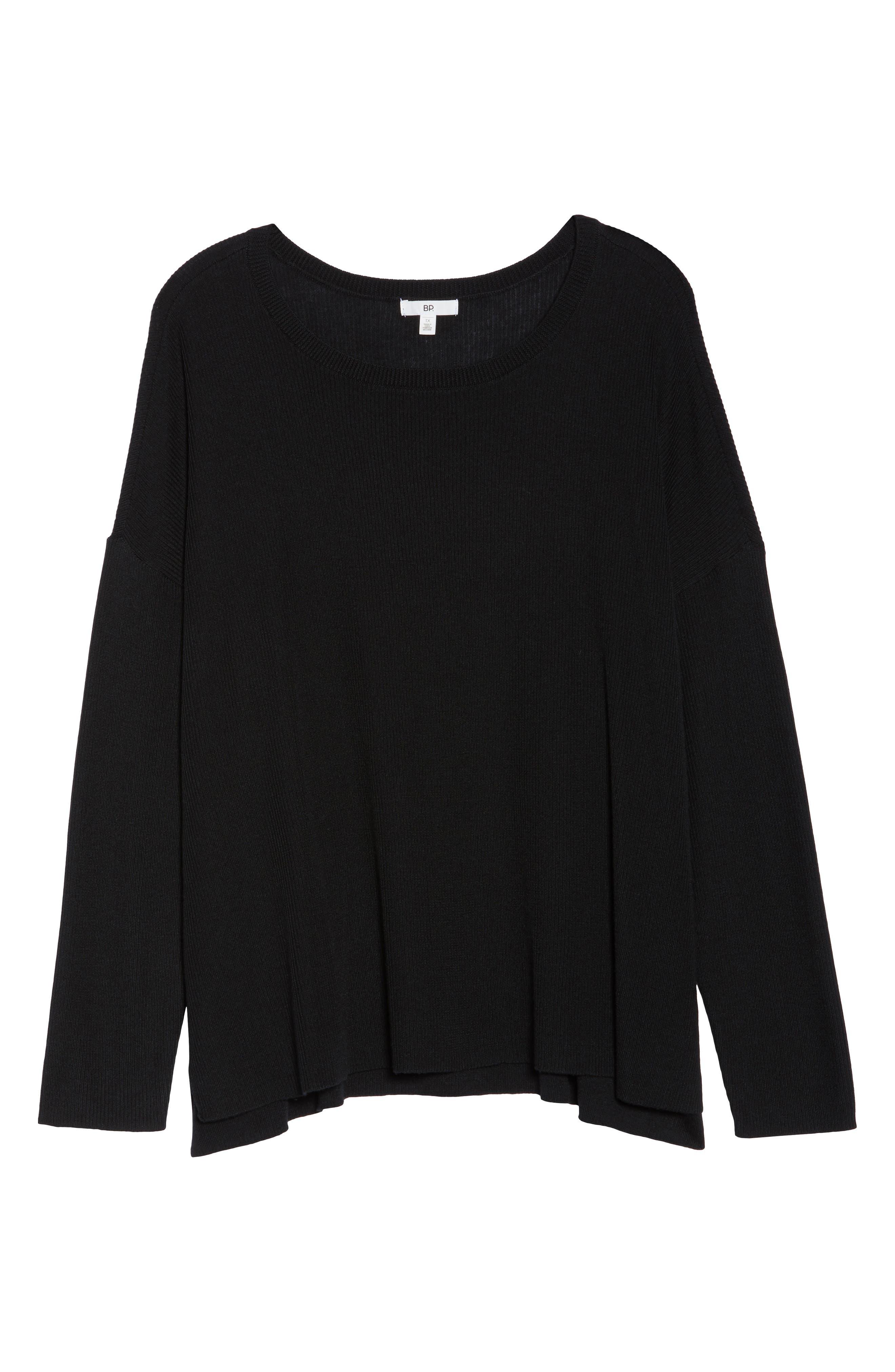 Drop Shoulder Ribbed Sweater,                             Alternate thumbnail 12, color,                             BLACK