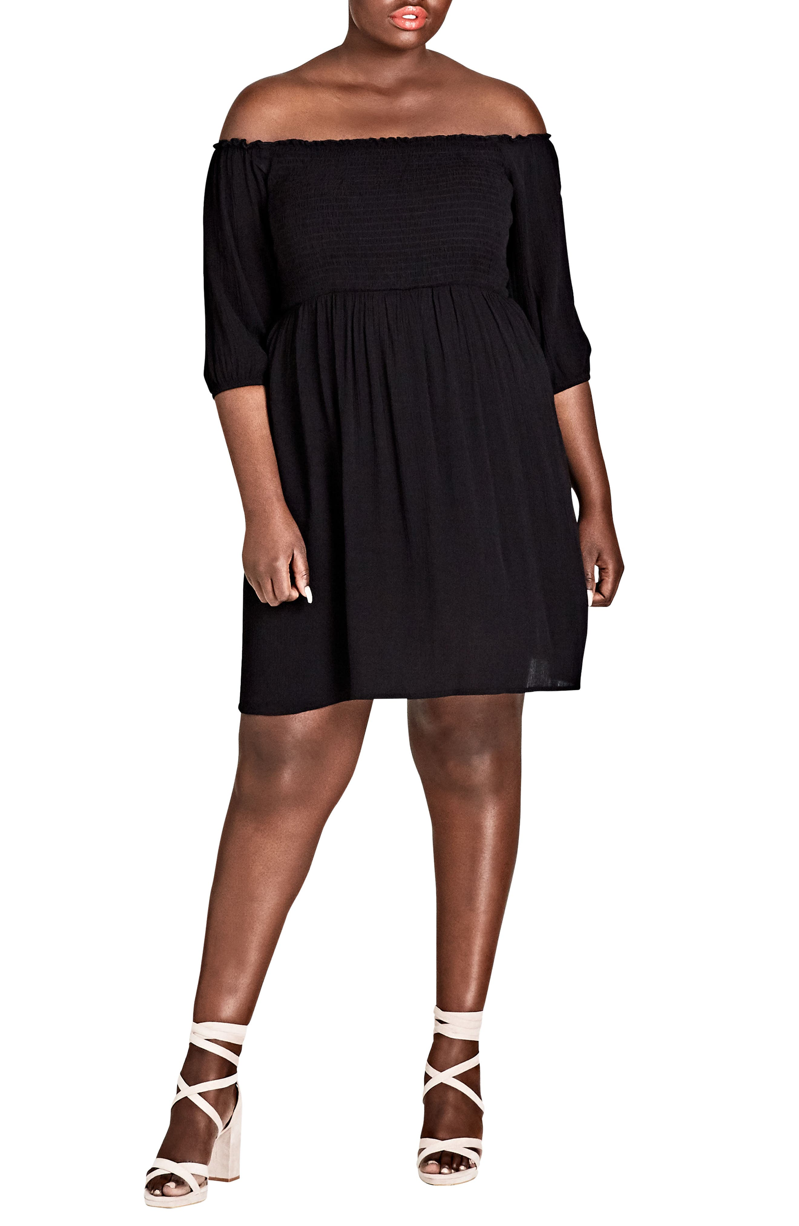 Calista Off the Shoulder Dress,                             Main thumbnail 1, color,                             BLACK