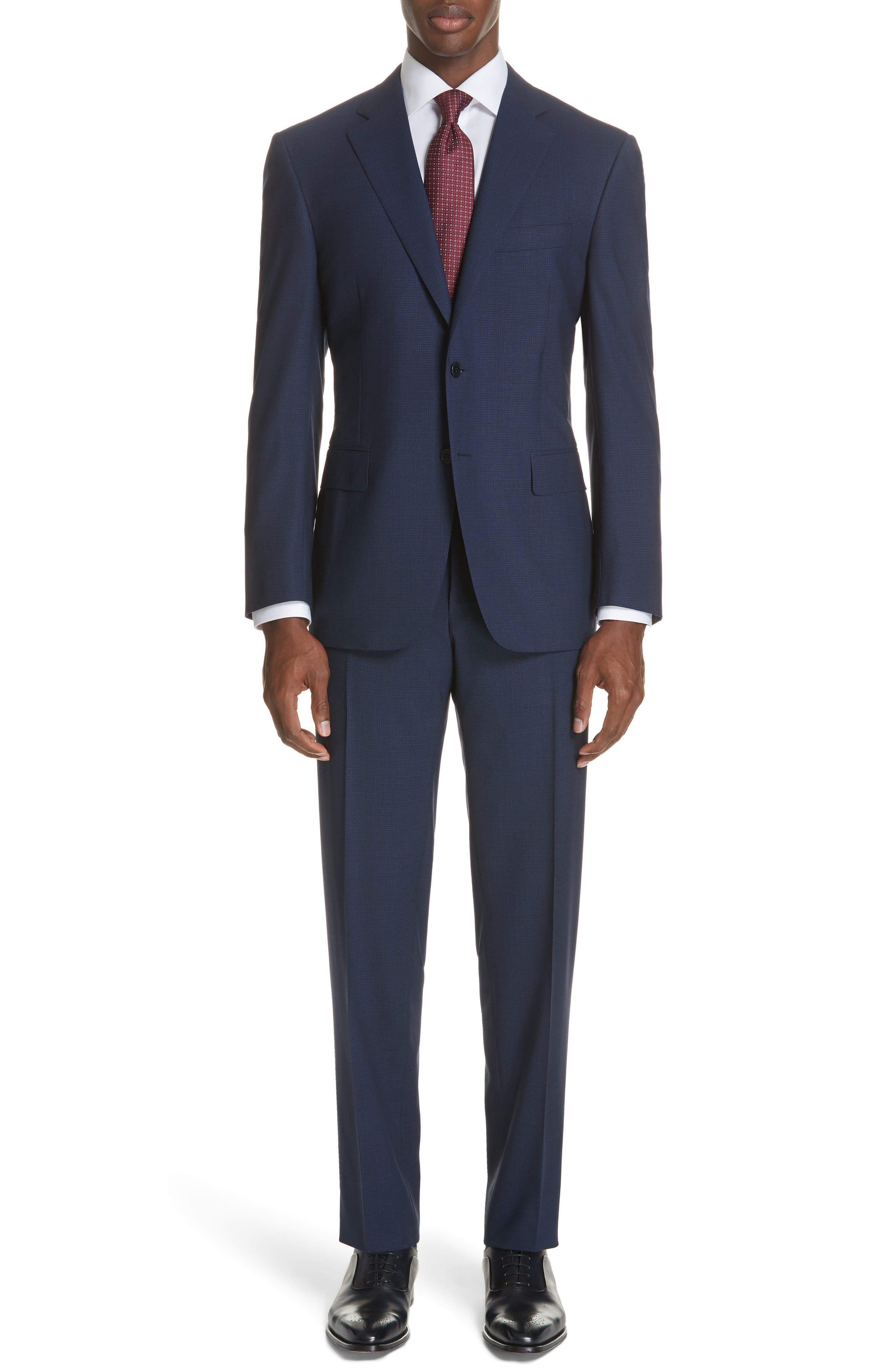 CANALI,                             Classic Fit Check Wool Suit,                             Main thumbnail 1, color,                             400