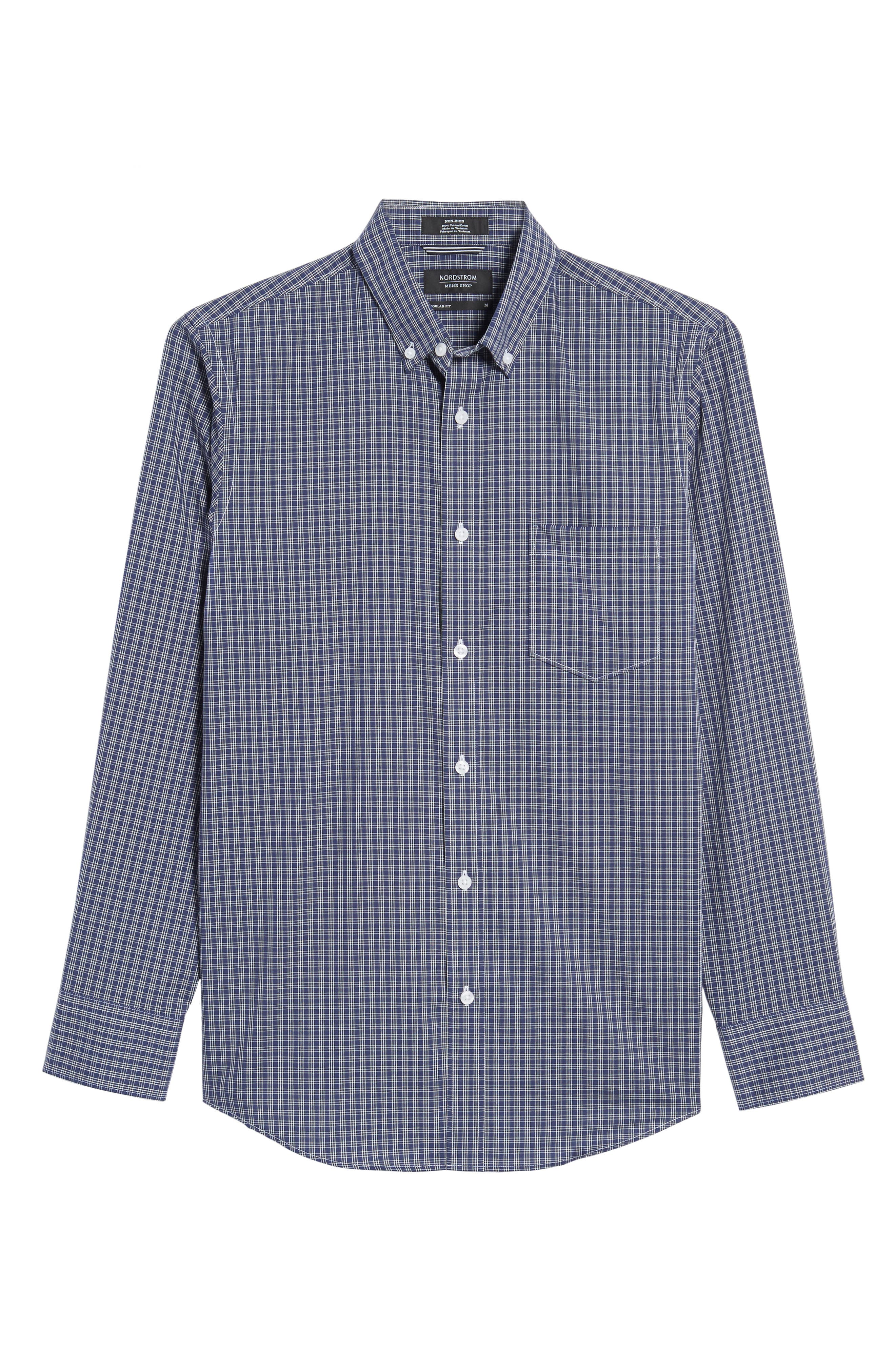 Regular Fit Non-Iron Mini Check Sport Shirt,                             Alternate thumbnail 6, color,                             410