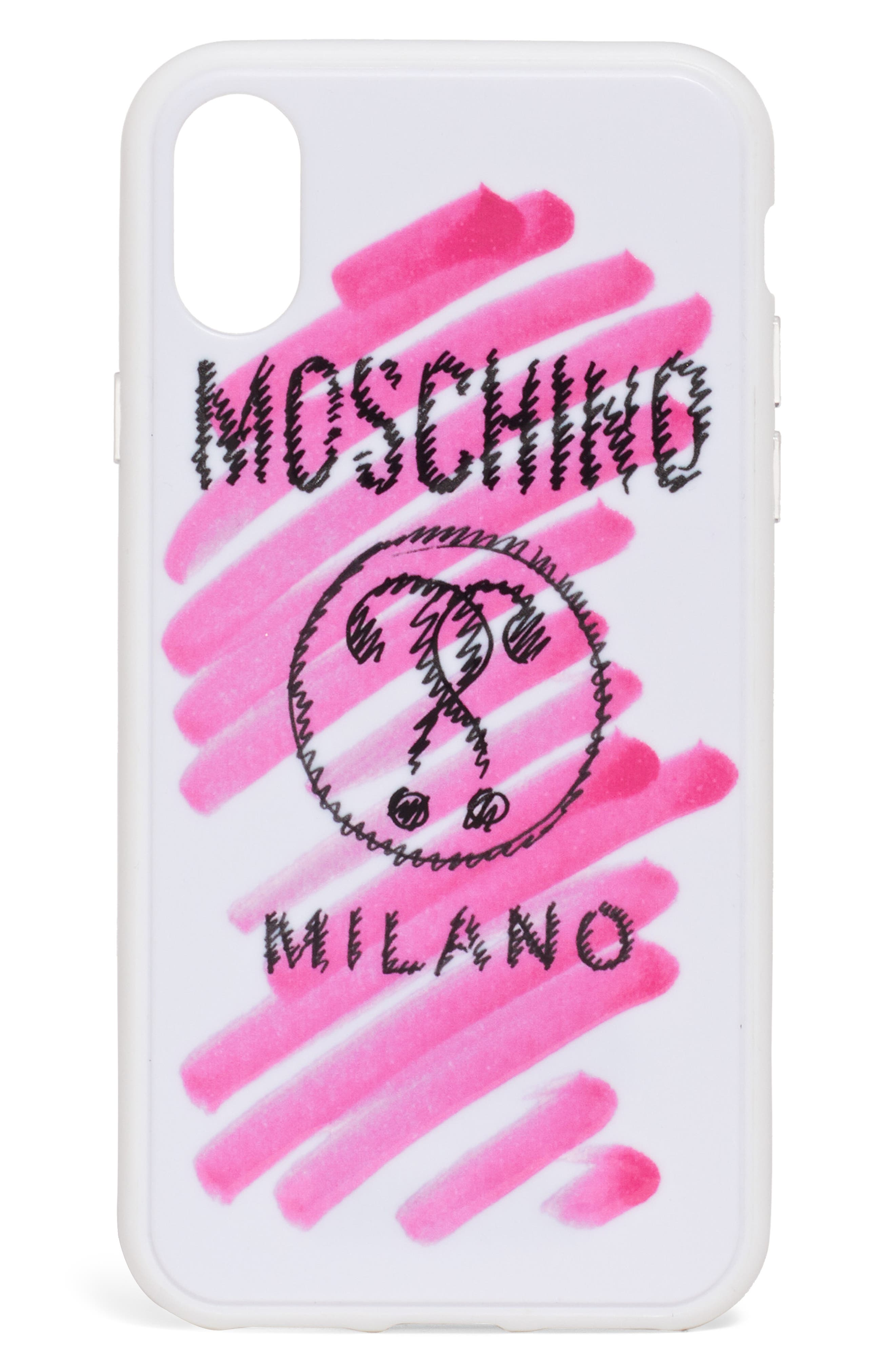 MOSCHINO,                             Scribble Logo iPhone Xs/Xs Max & XR Case,                             Main thumbnail 1, color,                             100