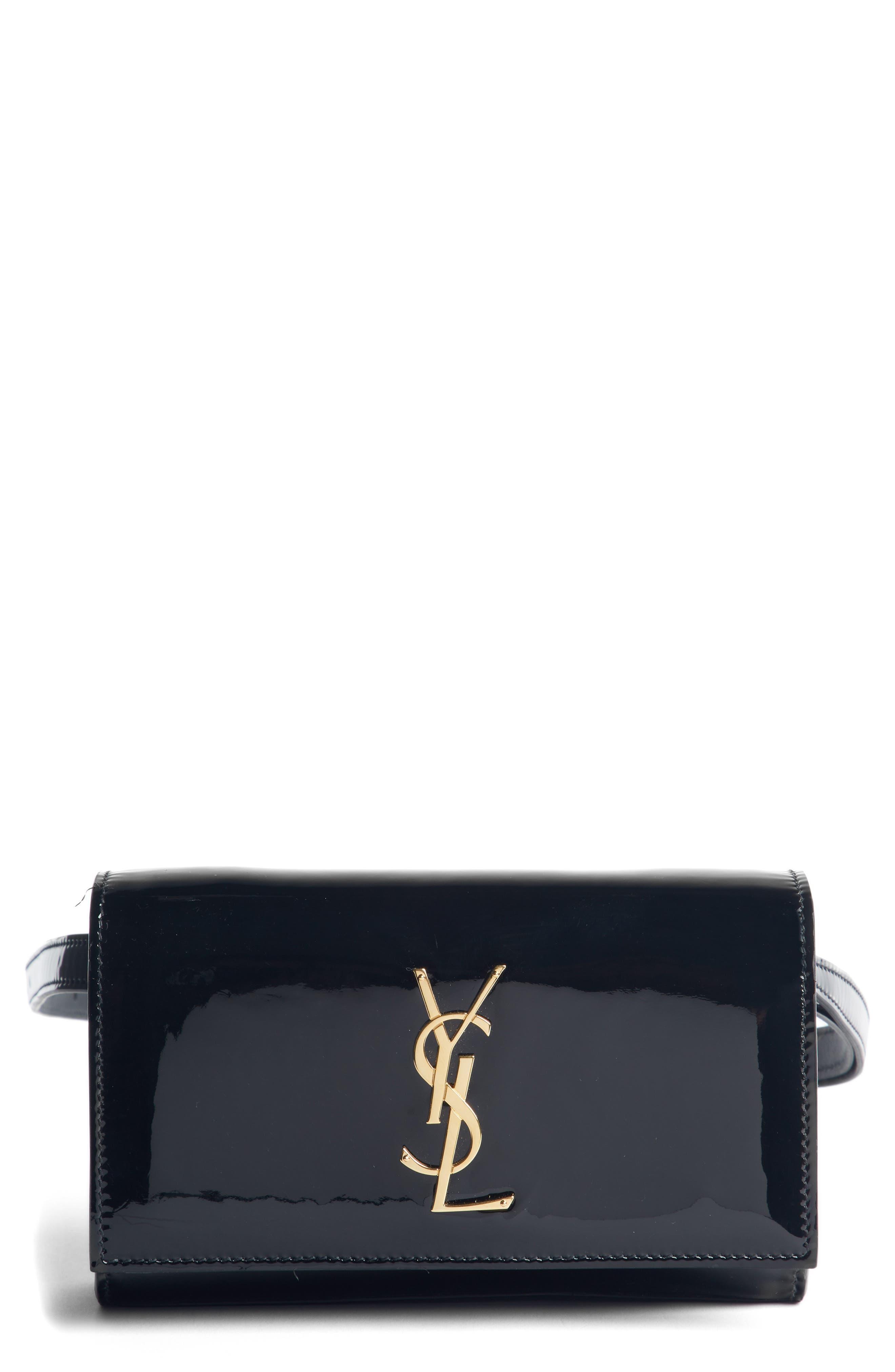 SAINT LAURENT Kate Patent Leather Belt Bag, Main, color, NOIR