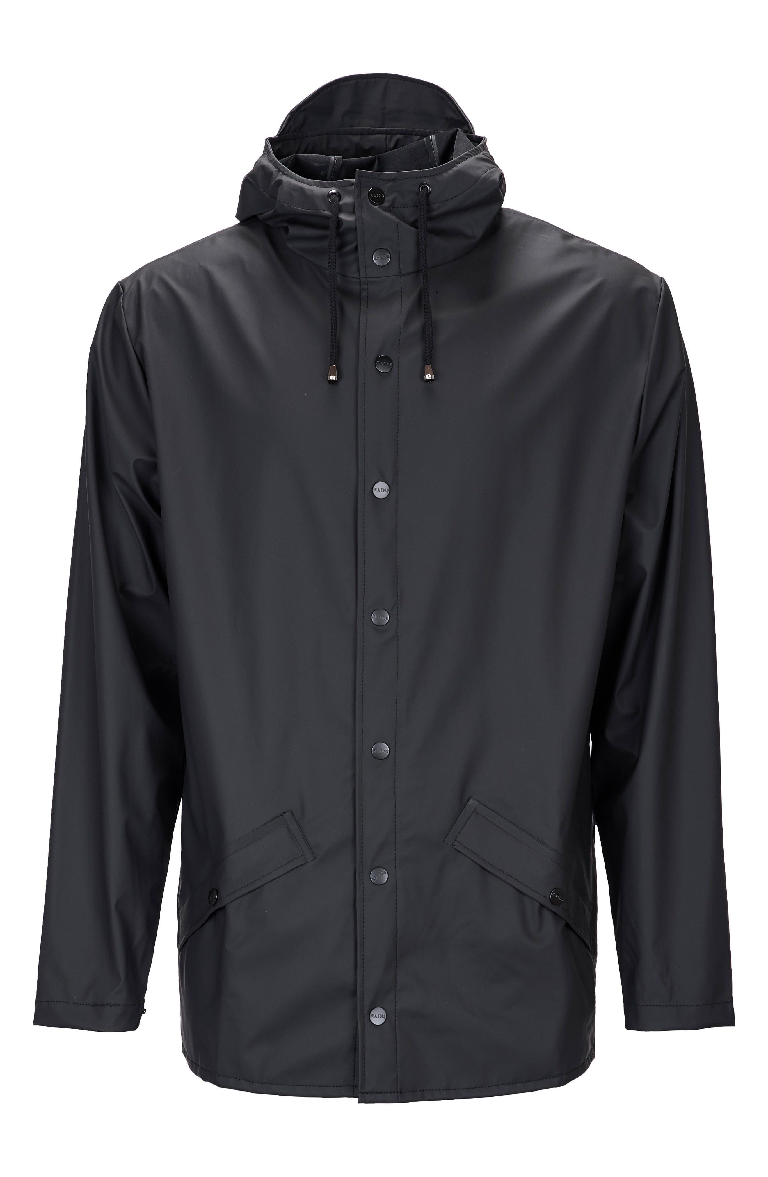 Lightweight Hooded Rain Jacket,                             Alternate thumbnail 6, color,                             BLACK
