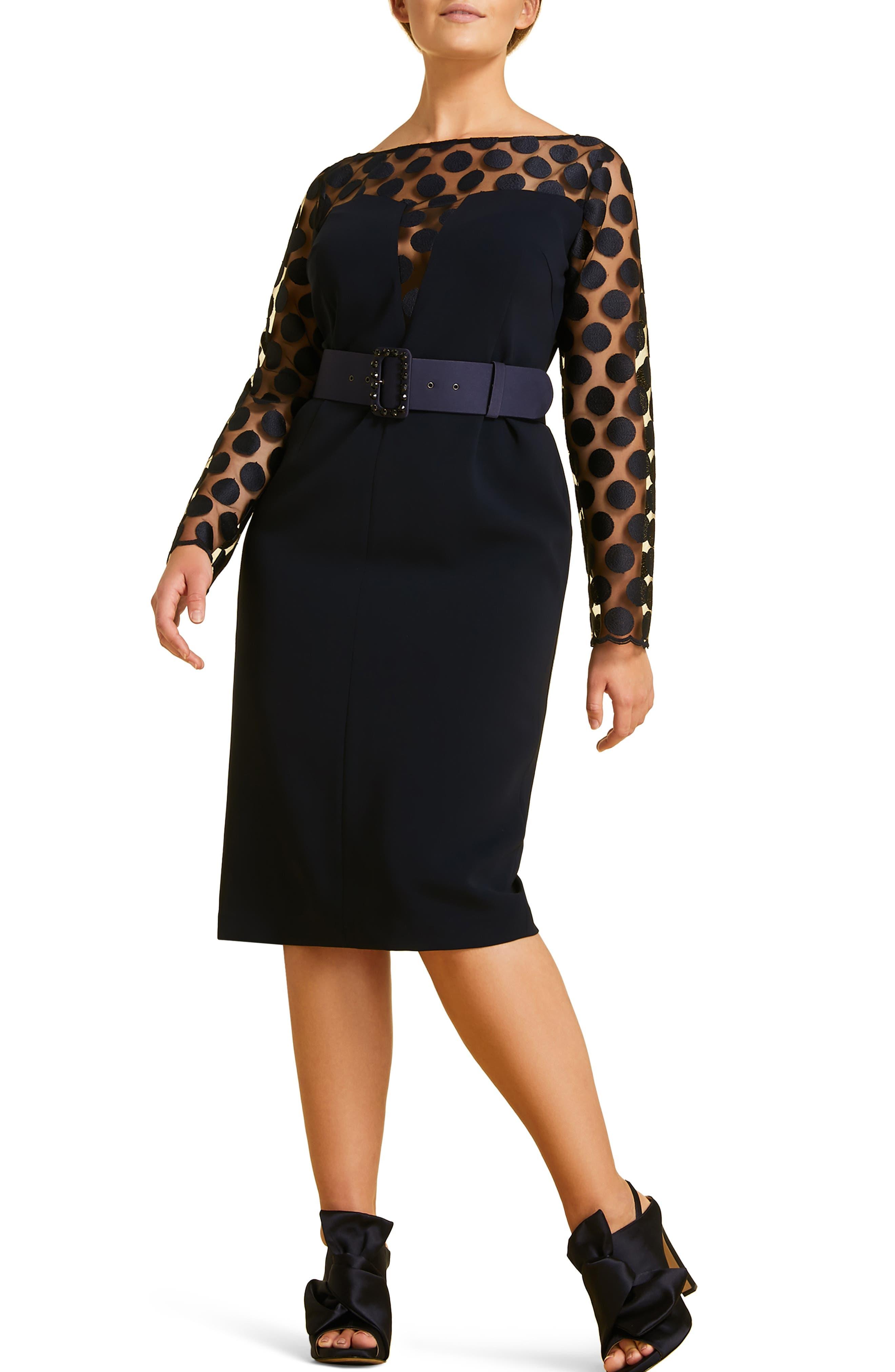 Plus Size Marina Rinaldi Divinas Fitted Dress, Blue