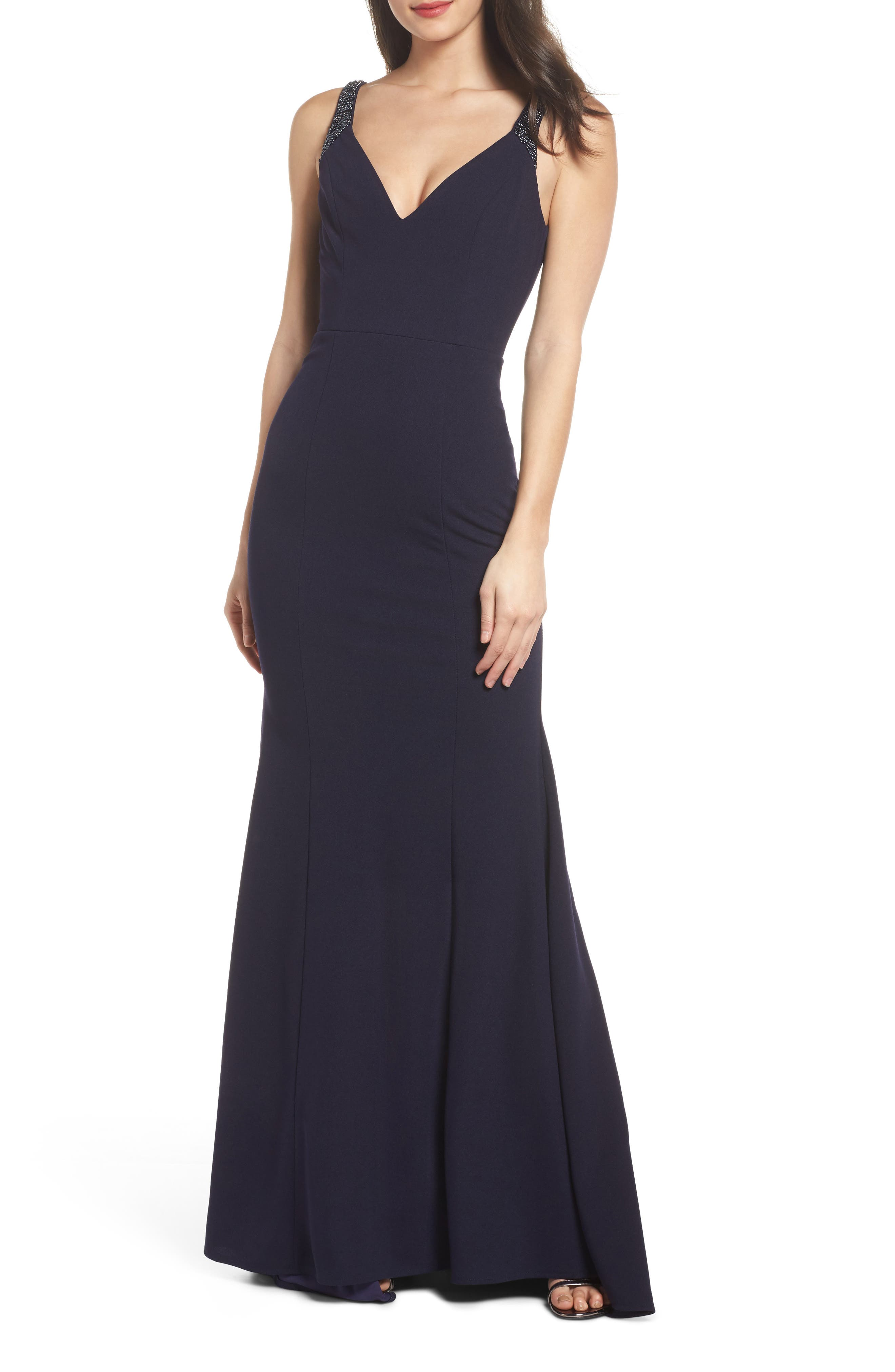 Embellished Strap Trumpet Gown,                             Main thumbnail 1, color,                             NAVY