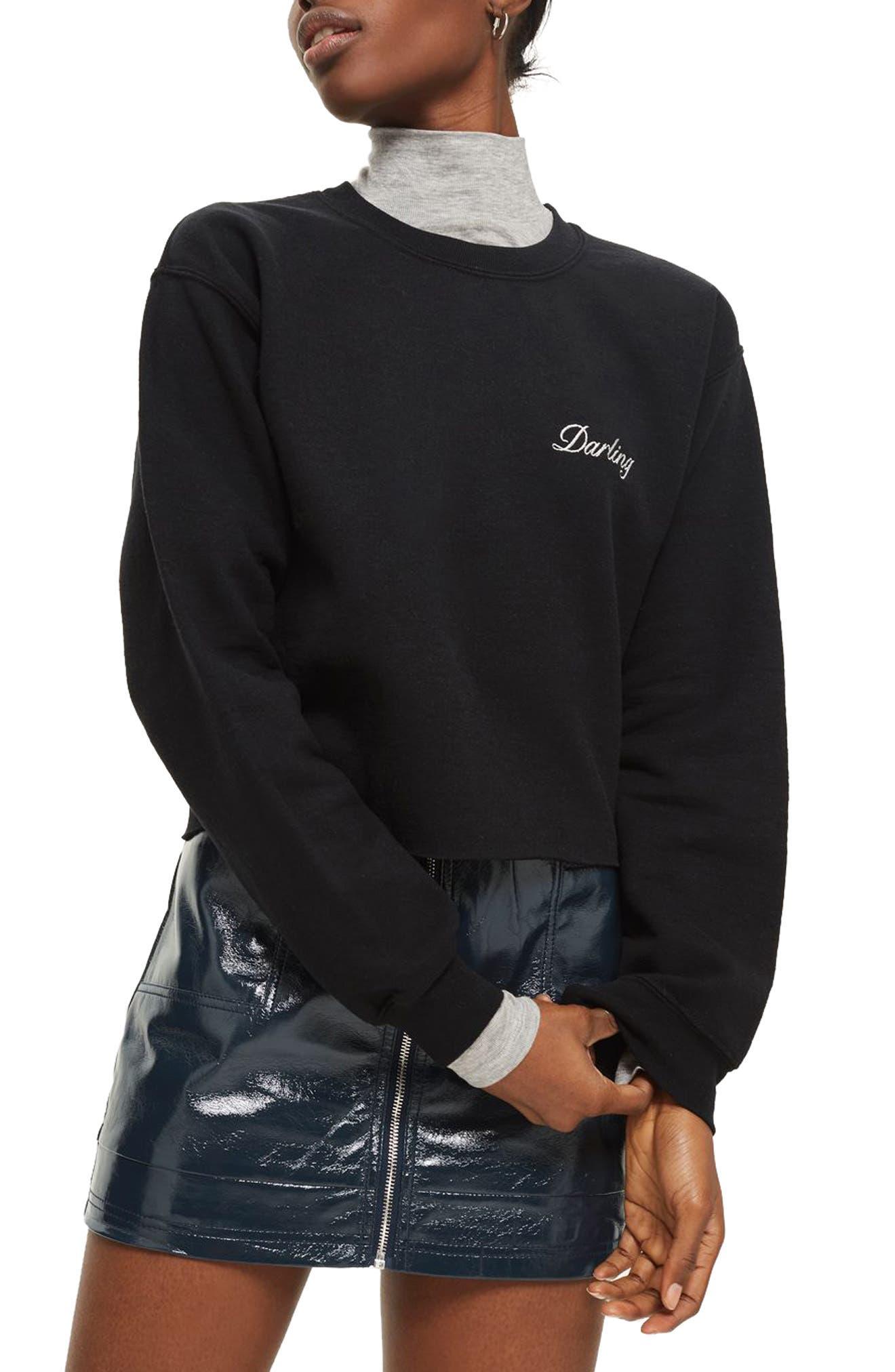 Darling Slogan Crop Sweatshirt,                         Main,                         color, 001