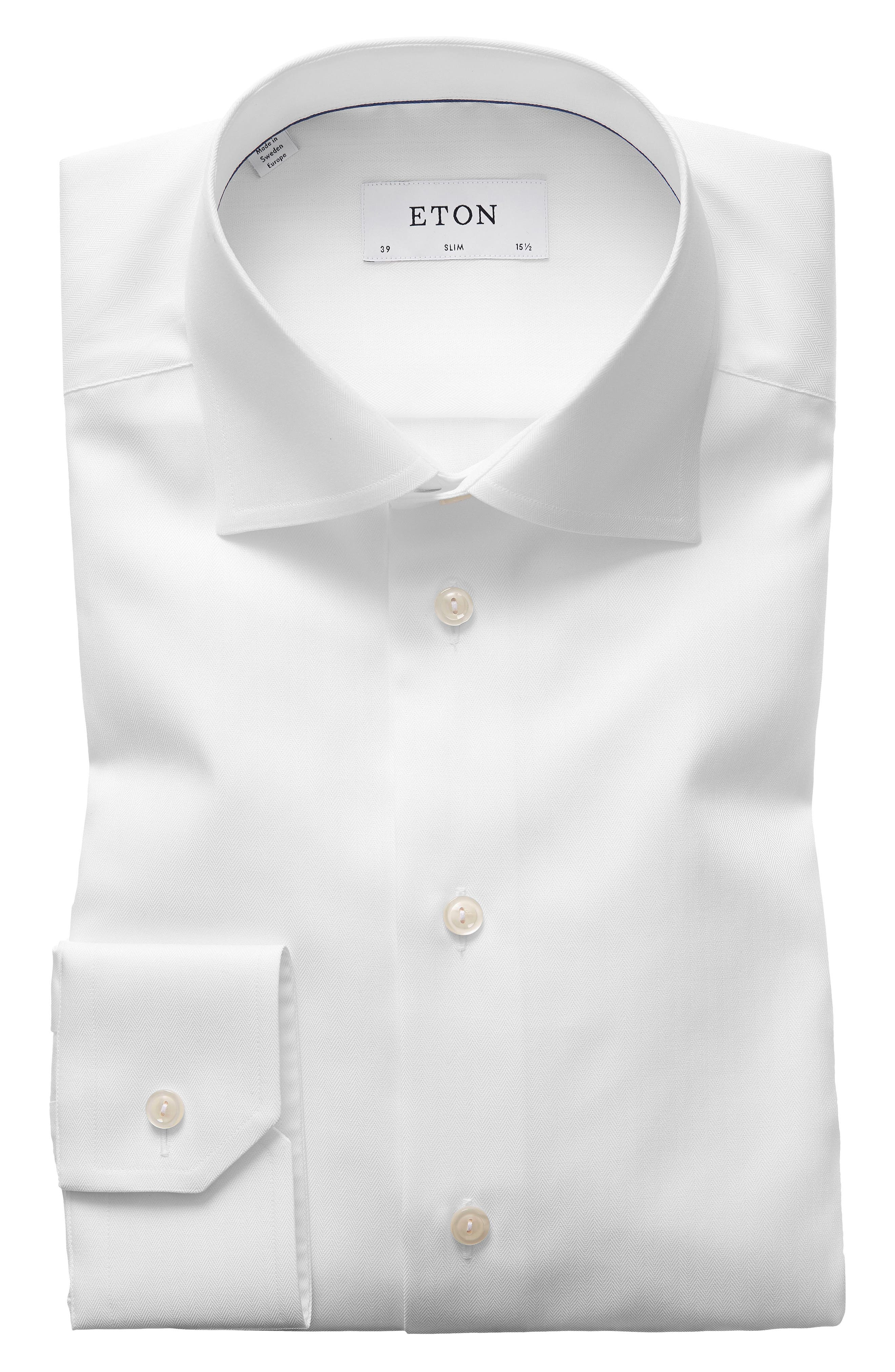 Slim Fit Herringbone Dress Shirt,                         Main,                         color, WHITE