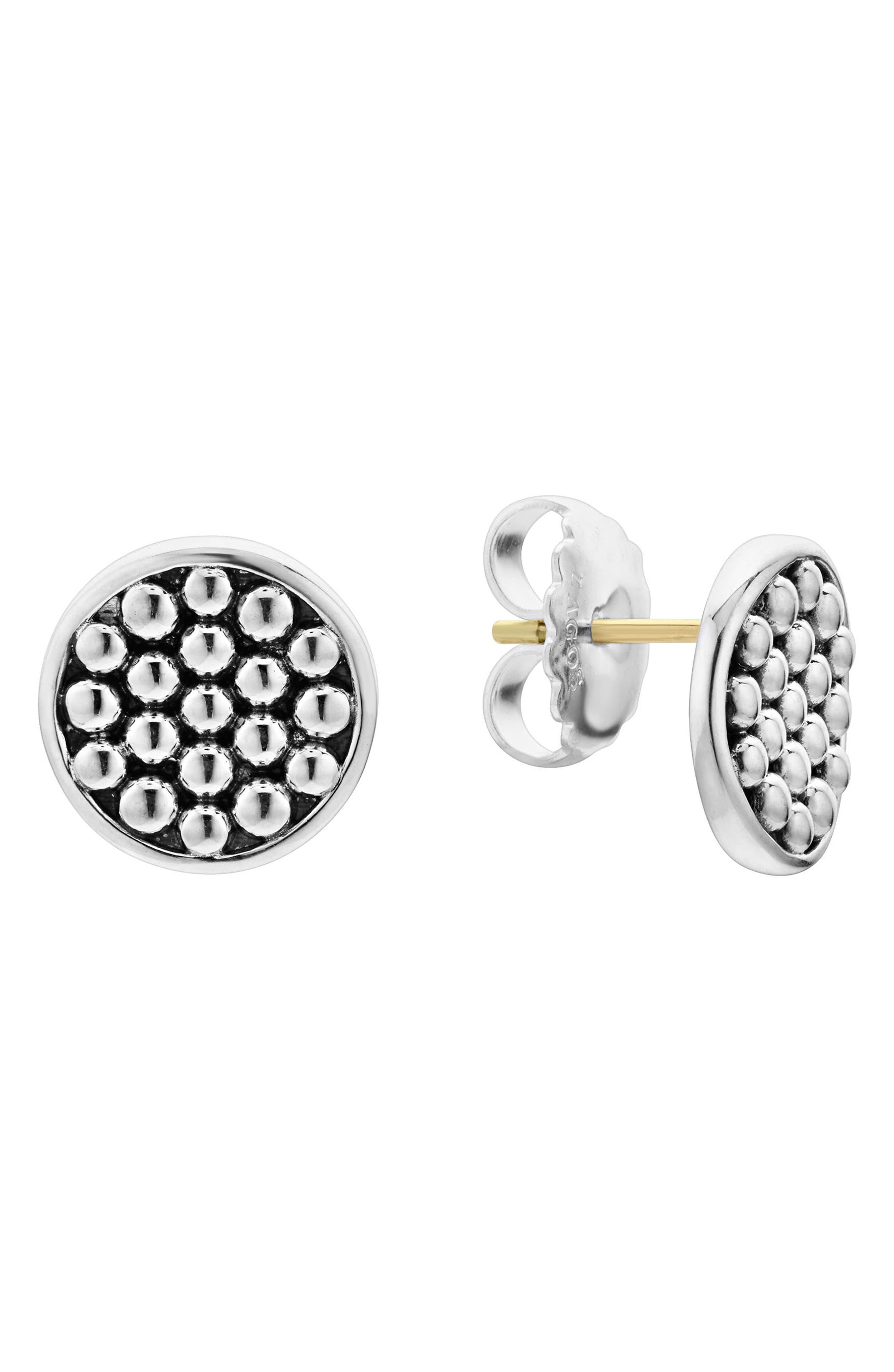 Signature Caviar Button Omega Post Earrings,                         Main,                         color, SILVER