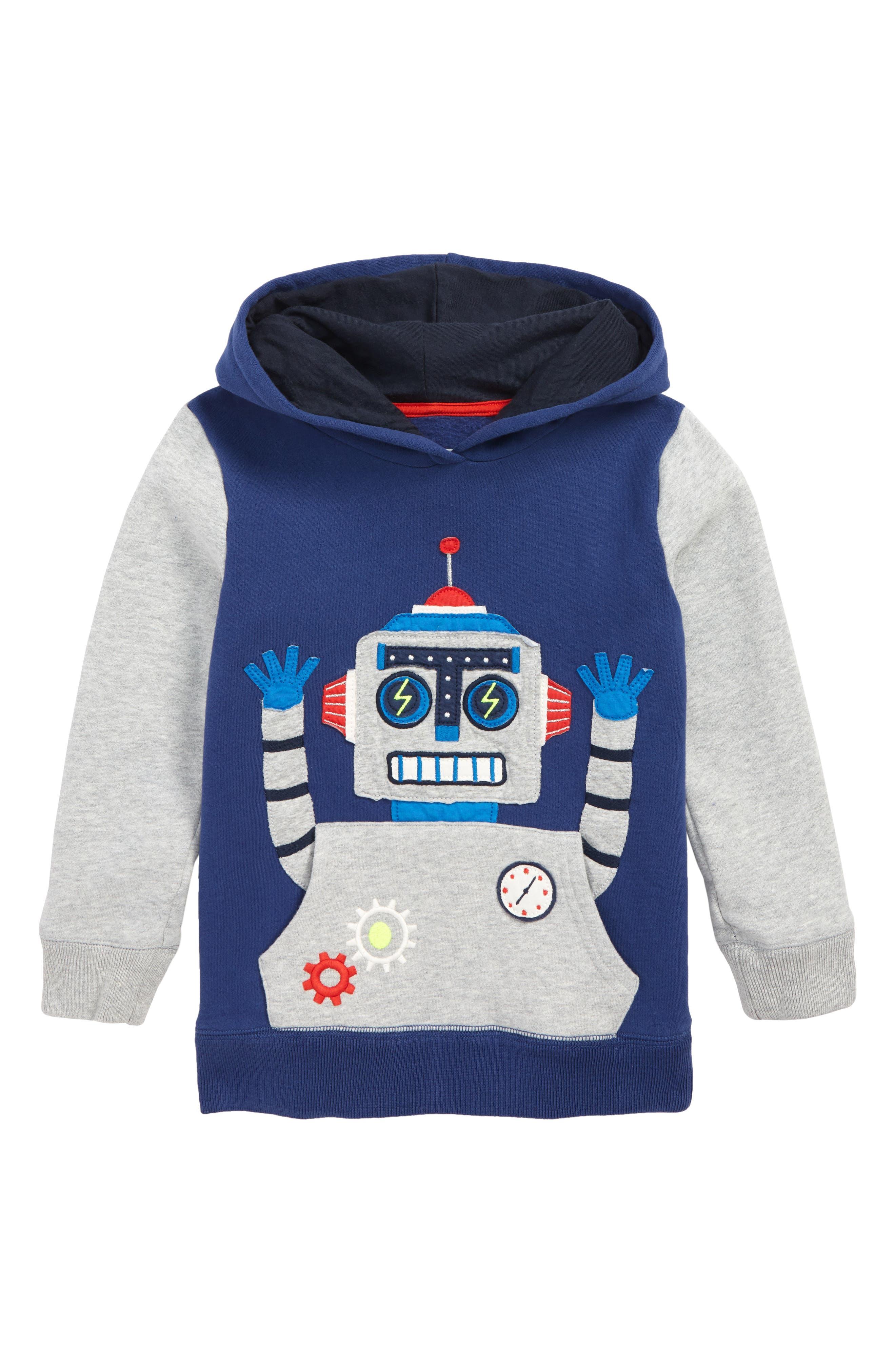 Boys Mini Boden Robot Applique Hoodie Size 910Y  Blue