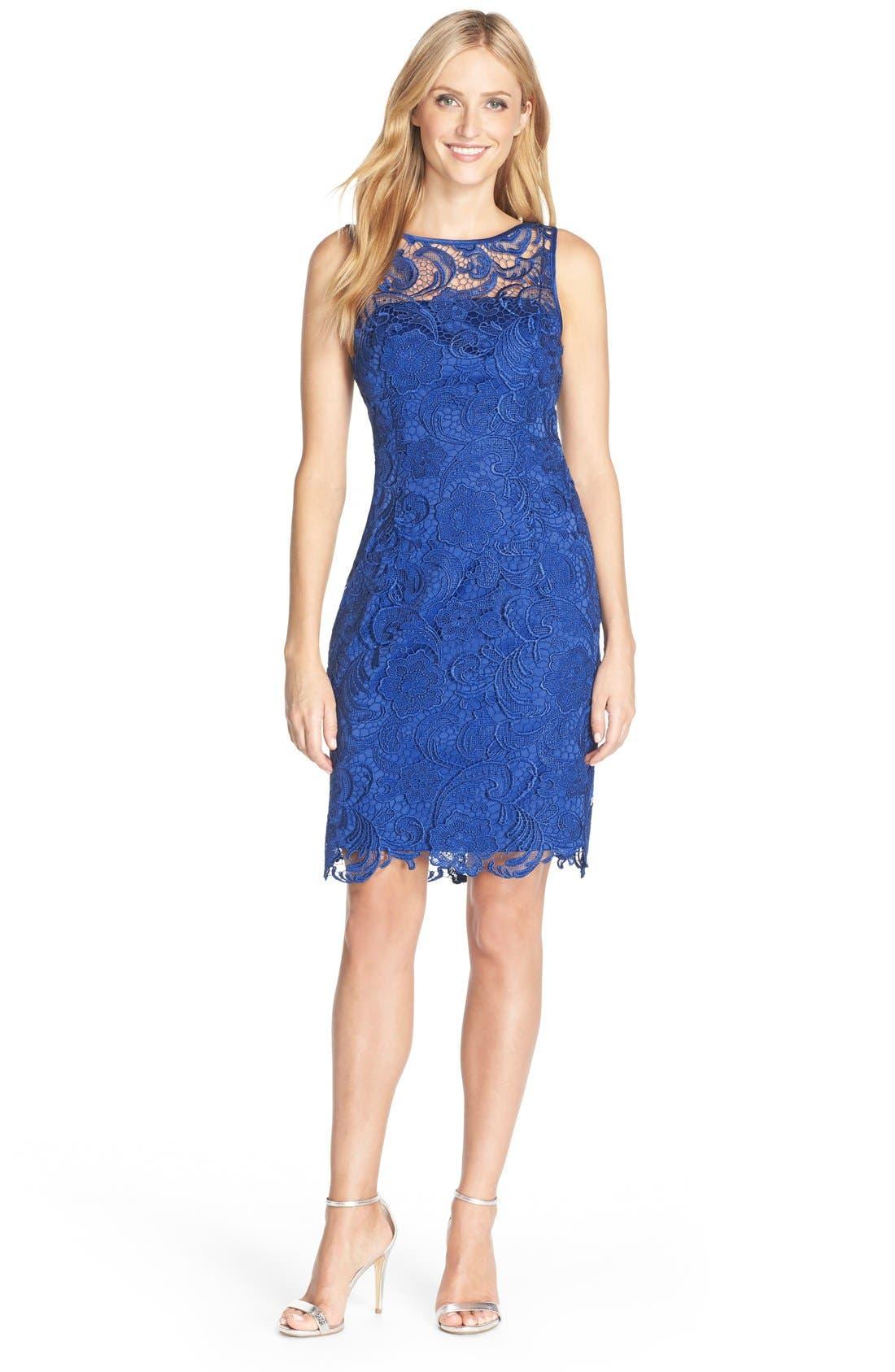 Illusion Bodice Lace Sheath Dress,                             Alternate thumbnail 28, color,