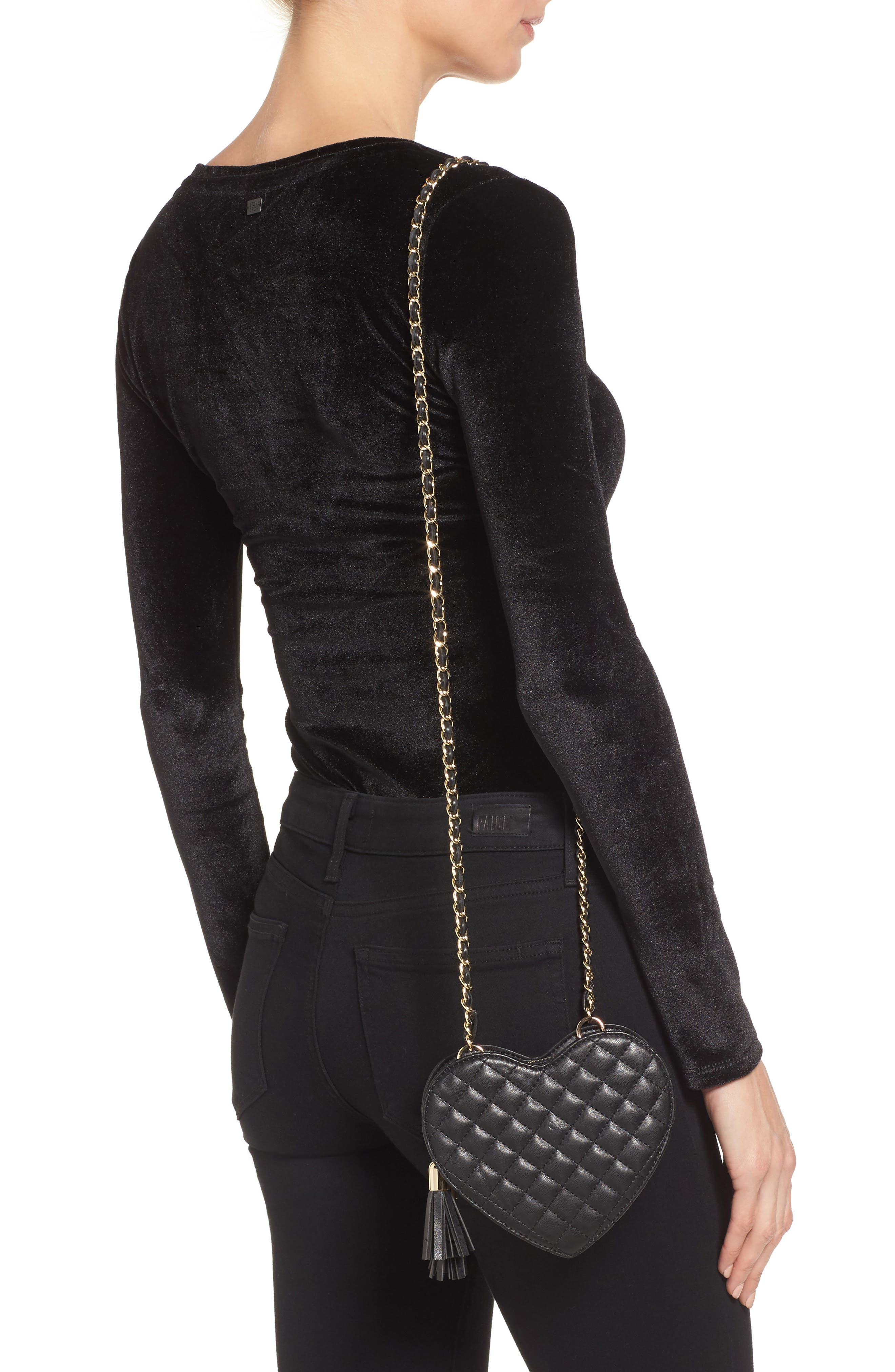 Mali + Lili Quilted Heart Vegan Leather Crossbody Bag,                             Alternate thumbnail 2, color,                             BLACK