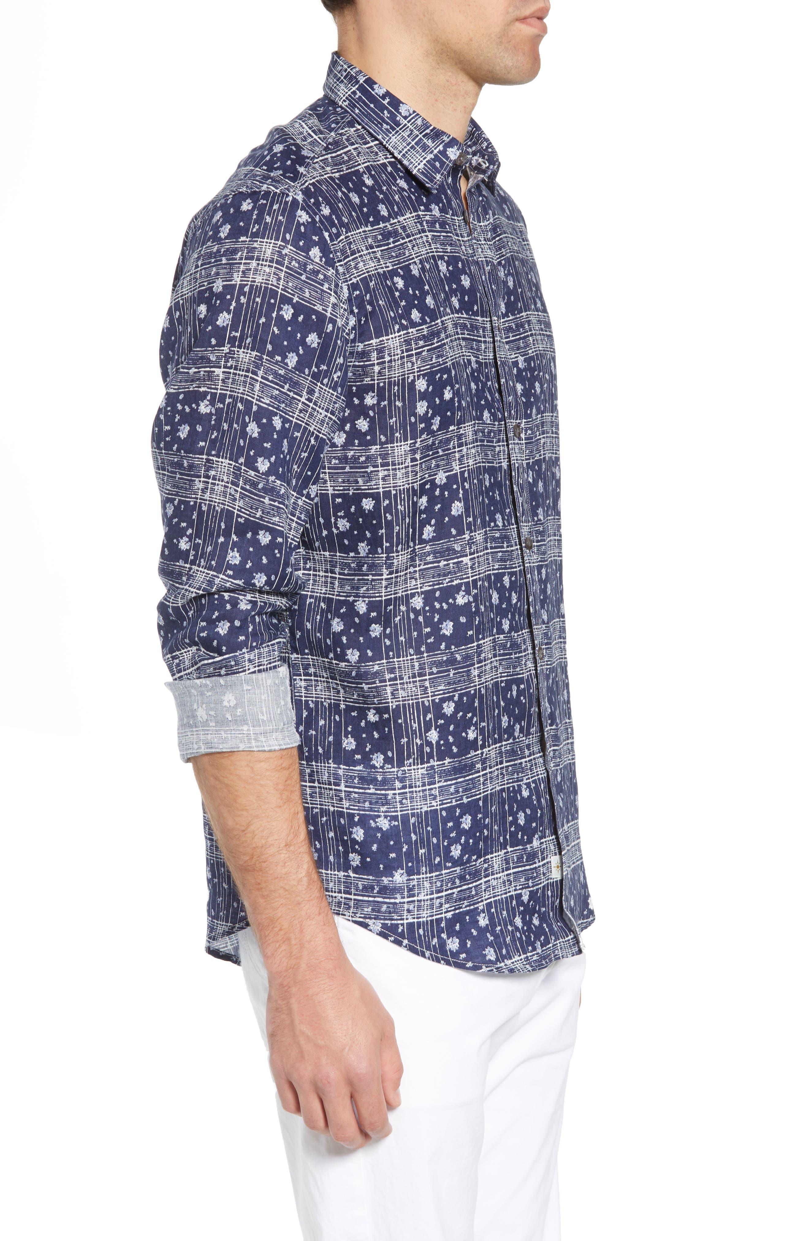 Gustavo Regular Fit Plaid Linen Sport Shirt,                             Alternate thumbnail 3, color,                             OCEAN